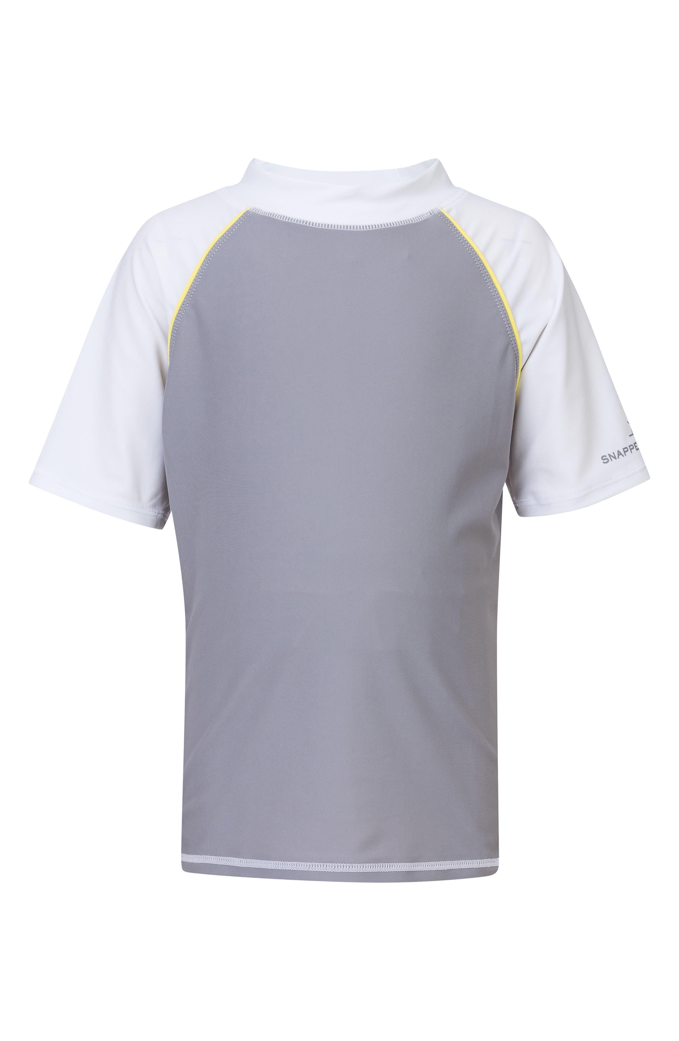 Raglan Short Sleeve Rashguard,                             Main thumbnail 1, color,                             GREY/ WHITE