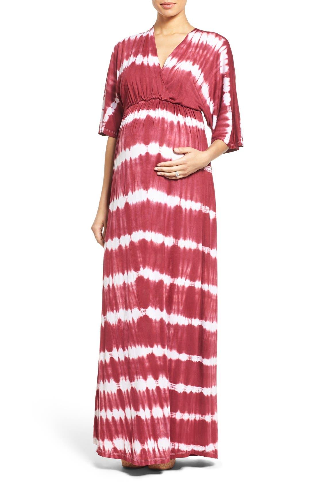 'Dream Shakey' Tie Dye Maternity Maxi Dress,                             Main thumbnail 1, color,                             RASPBERRY TIE DYE