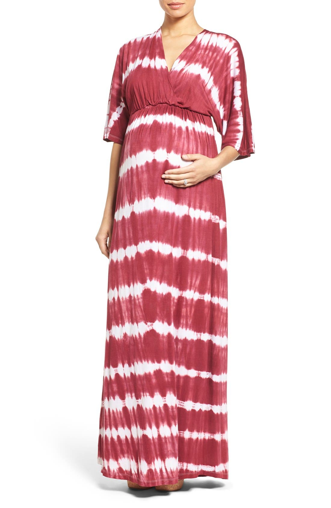 'Dream Shakey' Tie Dye Maternity Maxi Dress,                         Main,                         color, RASPBERRY TIE DYE