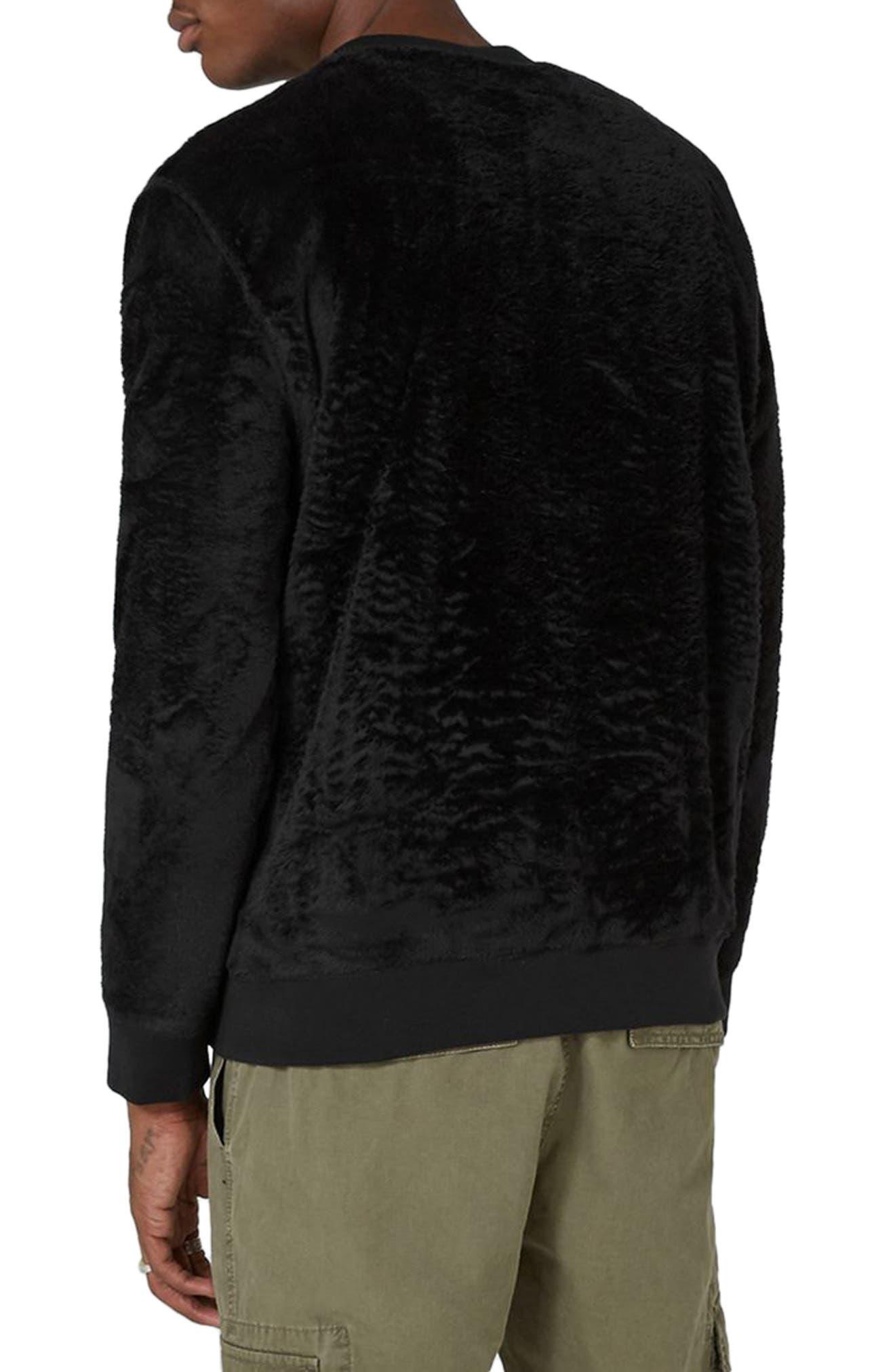 Faux Fur Crewneck Sweatshirt,                             Alternate thumbnail 2, color,                             001