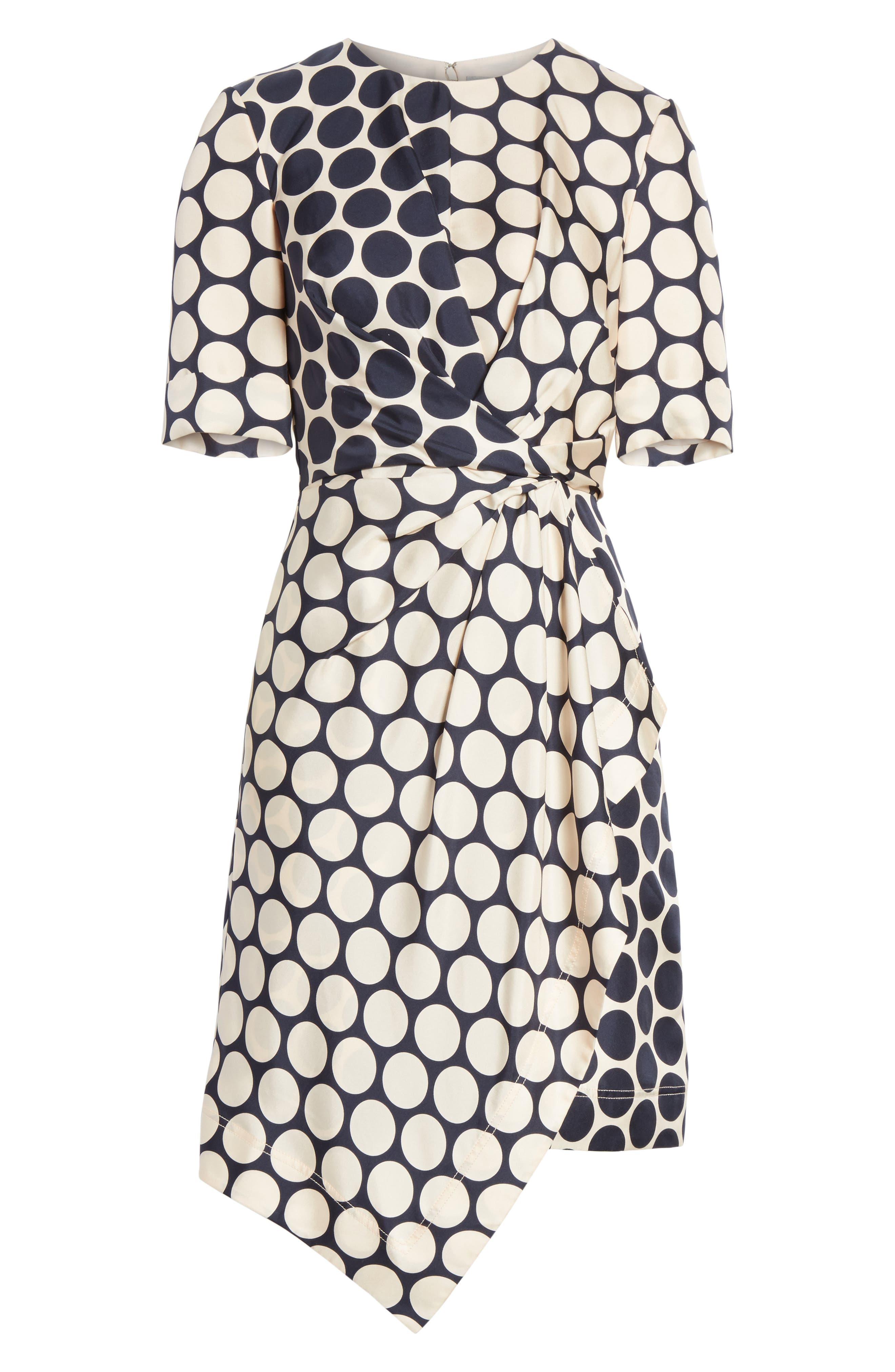 Polka Dot Silk Dress,                             Alternate thumbnail 6, color,                             469
