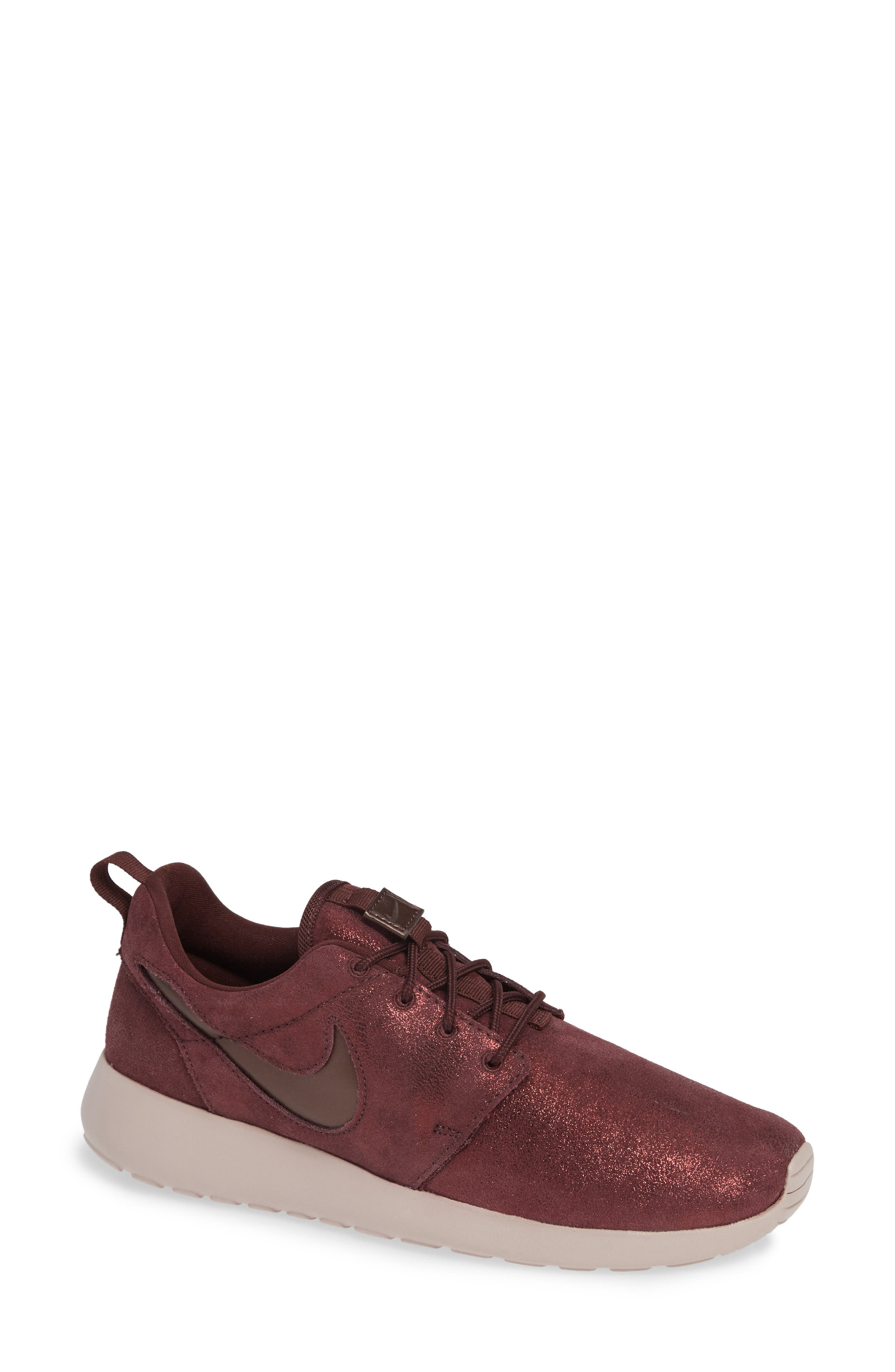 'Roshe Run' Print Sneaker,                             Main thumbnail 1, color,                             METALLIC MAHOGANY/ MAHOGANY