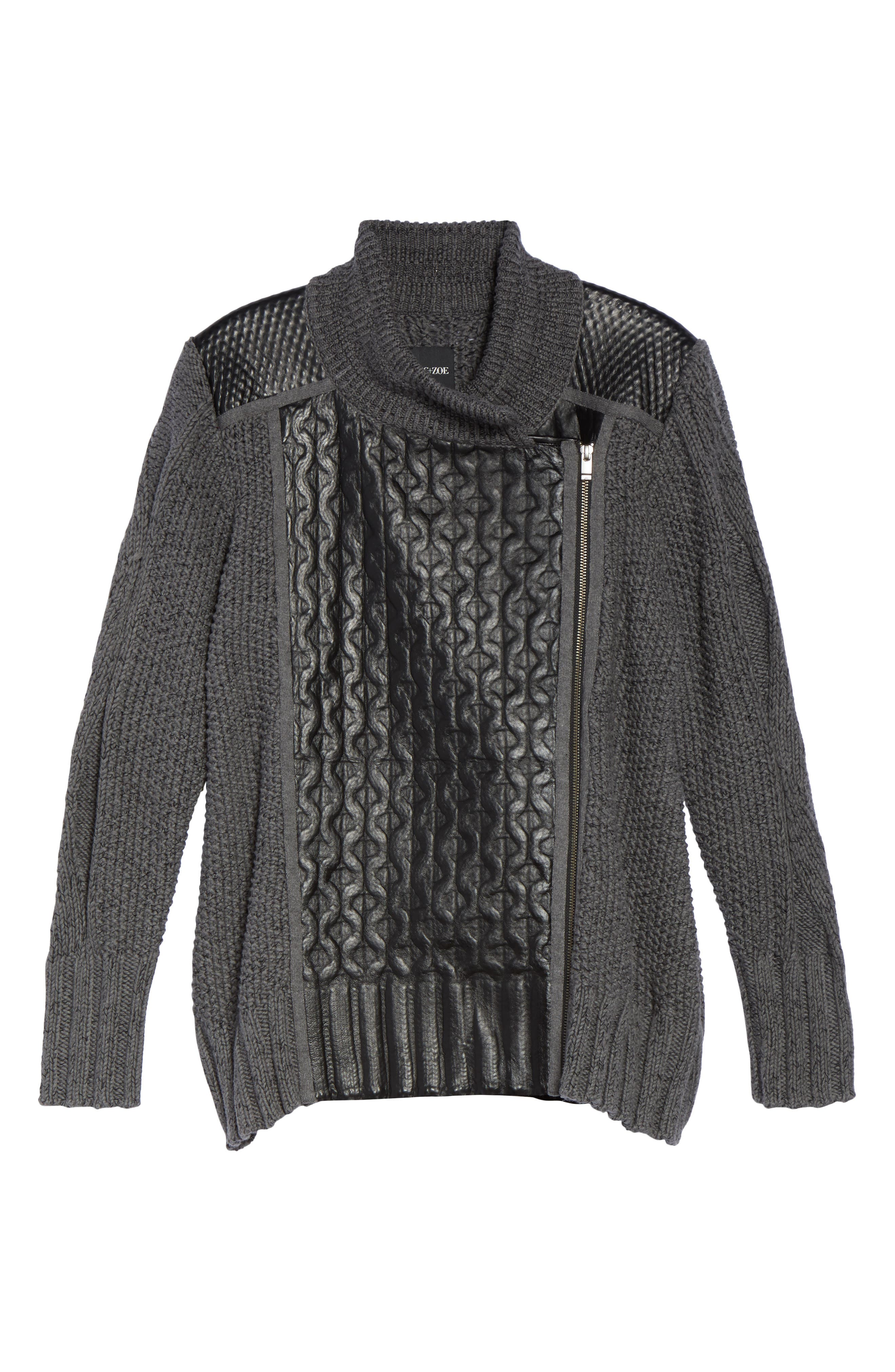 Cable Knit & Leather Jacket,                             Alternate thumbnail 6, color,                             020