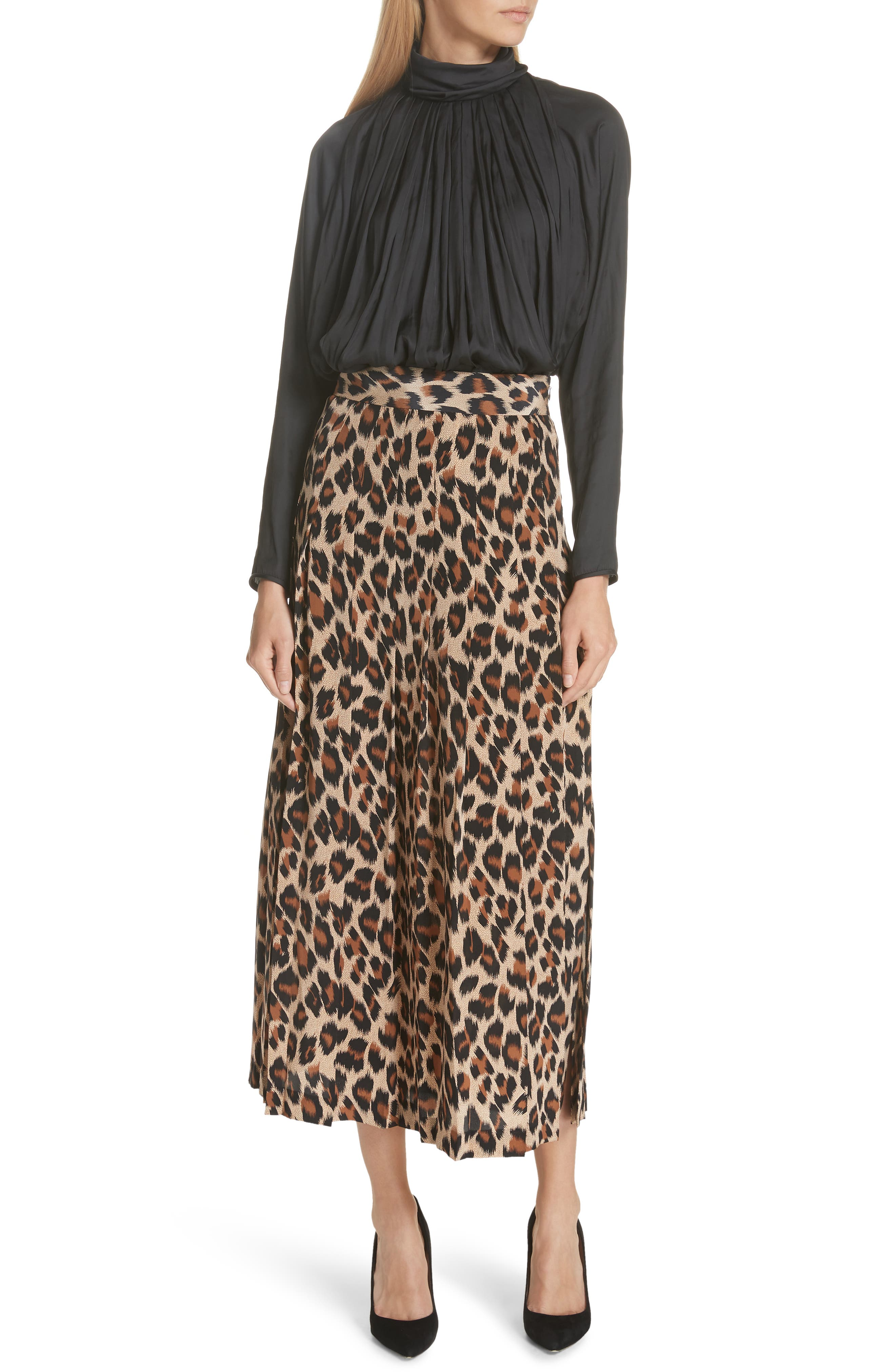 Leopard Print Pleated Silk Skirt,                             Alternate thumbnail 7, color,                             LEOPARD