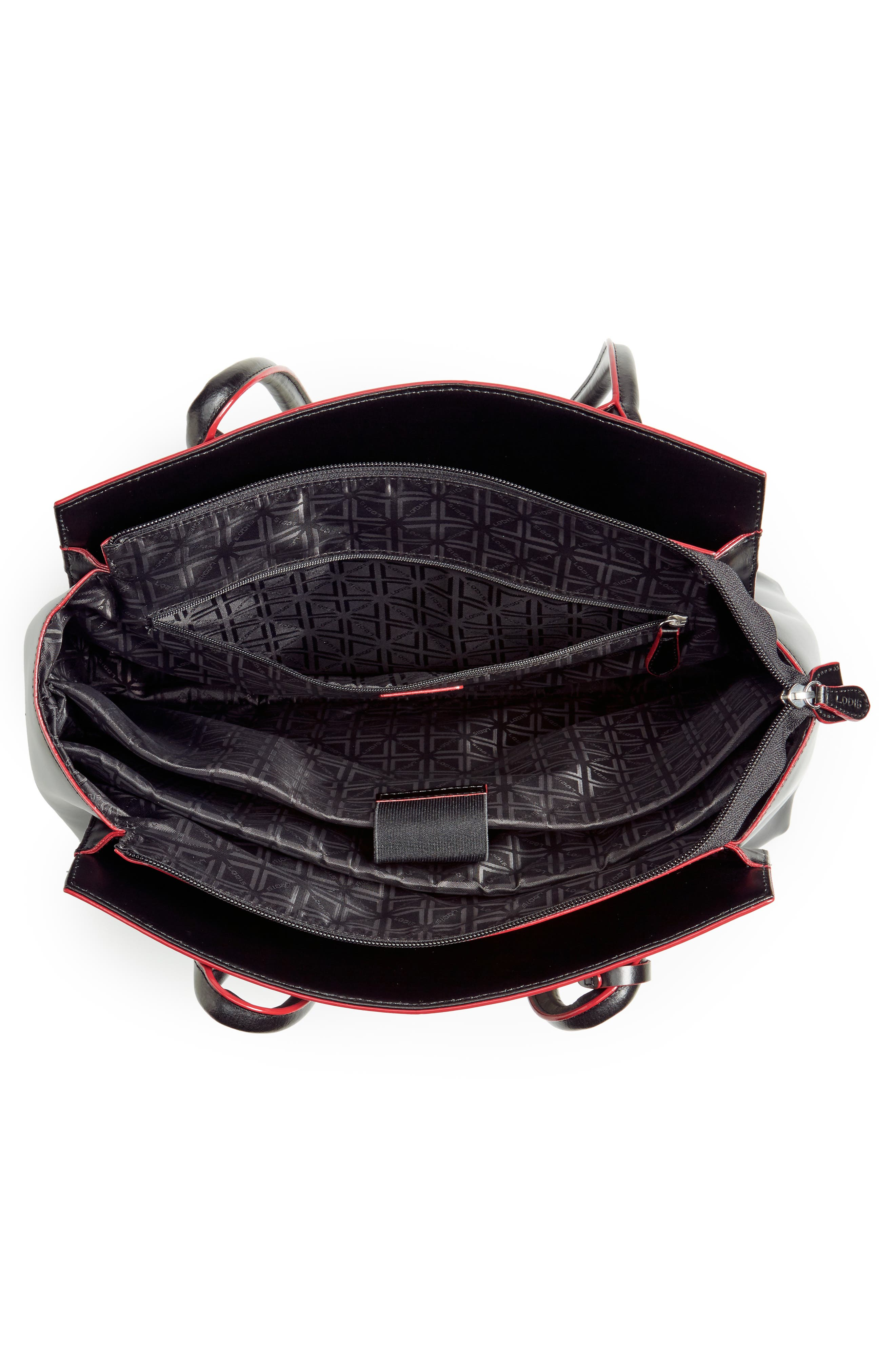 Audrey Under Lock & Key - Zola RFID Leather Tote,                             Alternate thumbnail 4, color,                             BLACK