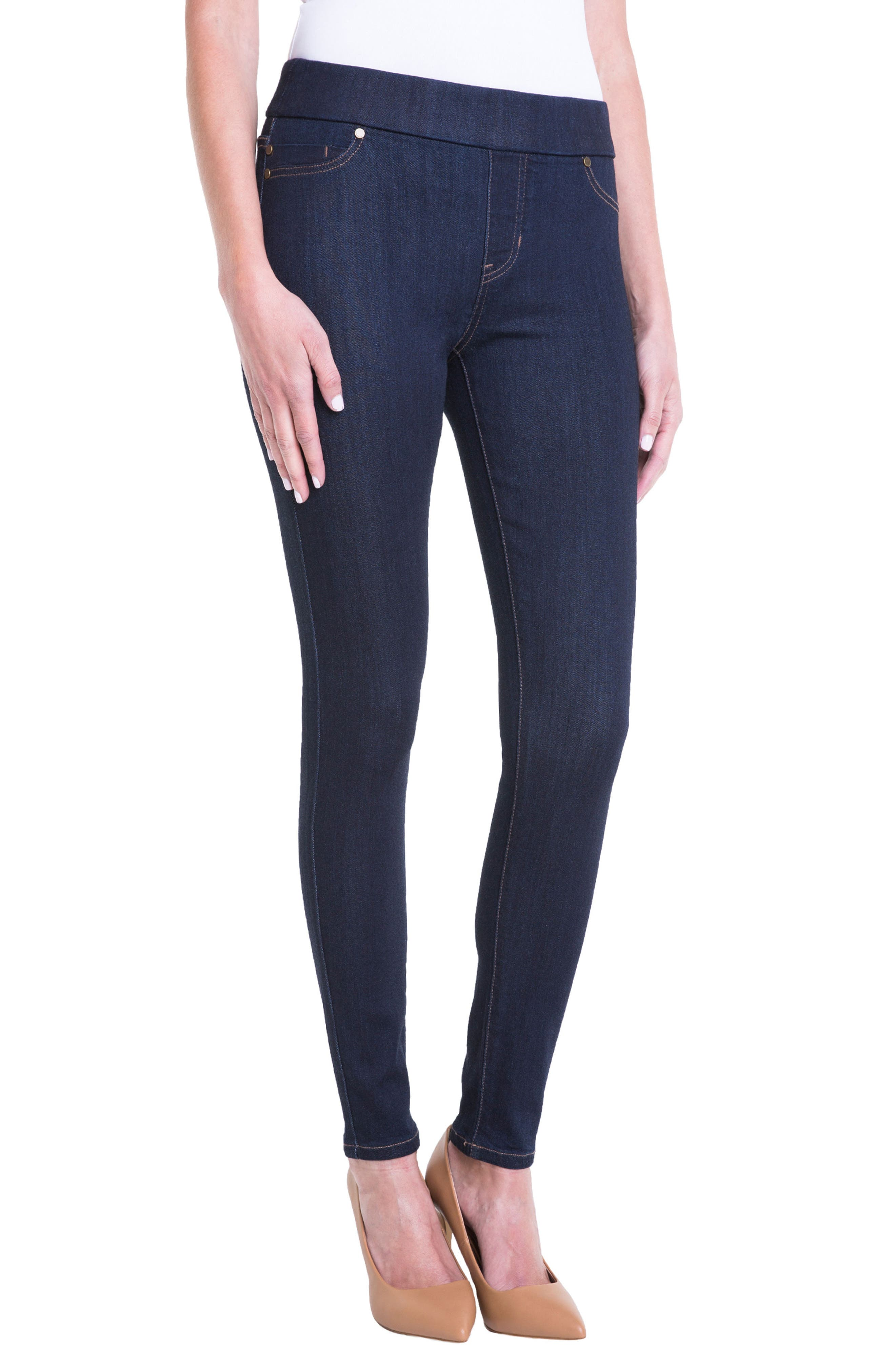 Sienna Pull-On Knit Denim Leggings,                             Alternate thumbnail 3, color,                             INDIGO RINSE
