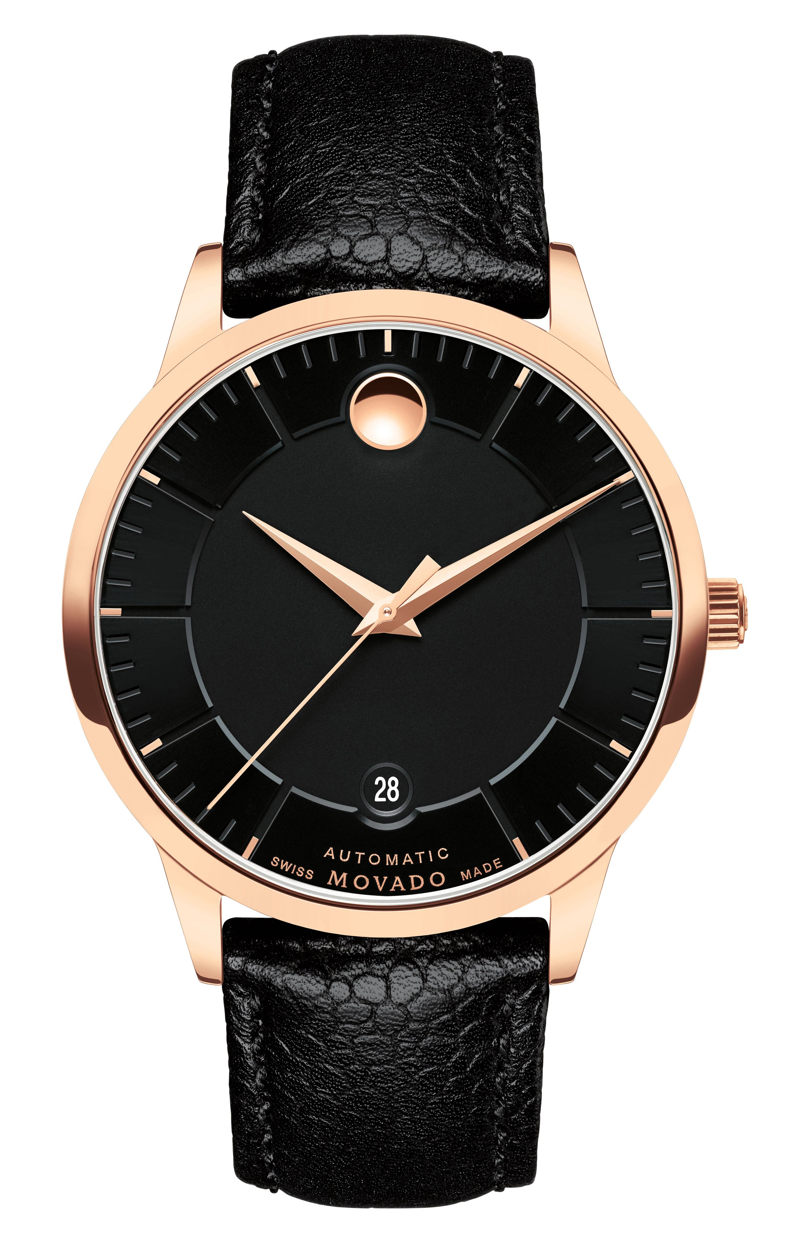 1881 Automatic Leather Strap Watch, 40mm,                             Main thumbnail 1, color,                             BLACK/ ROSE GOLD