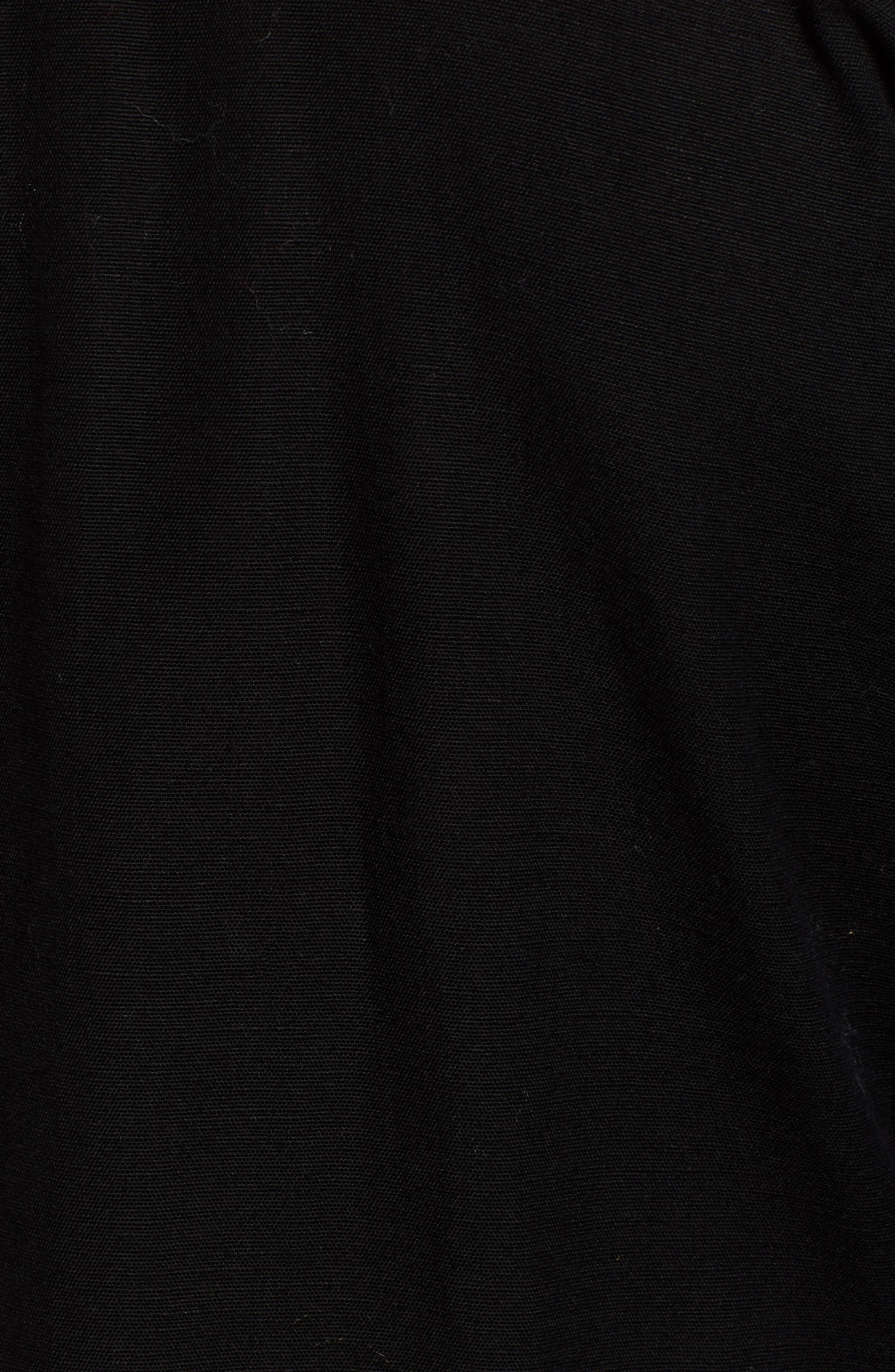Embroidered Peasant Dress,                             Alternate thumbnail 6, color,                             BLACK