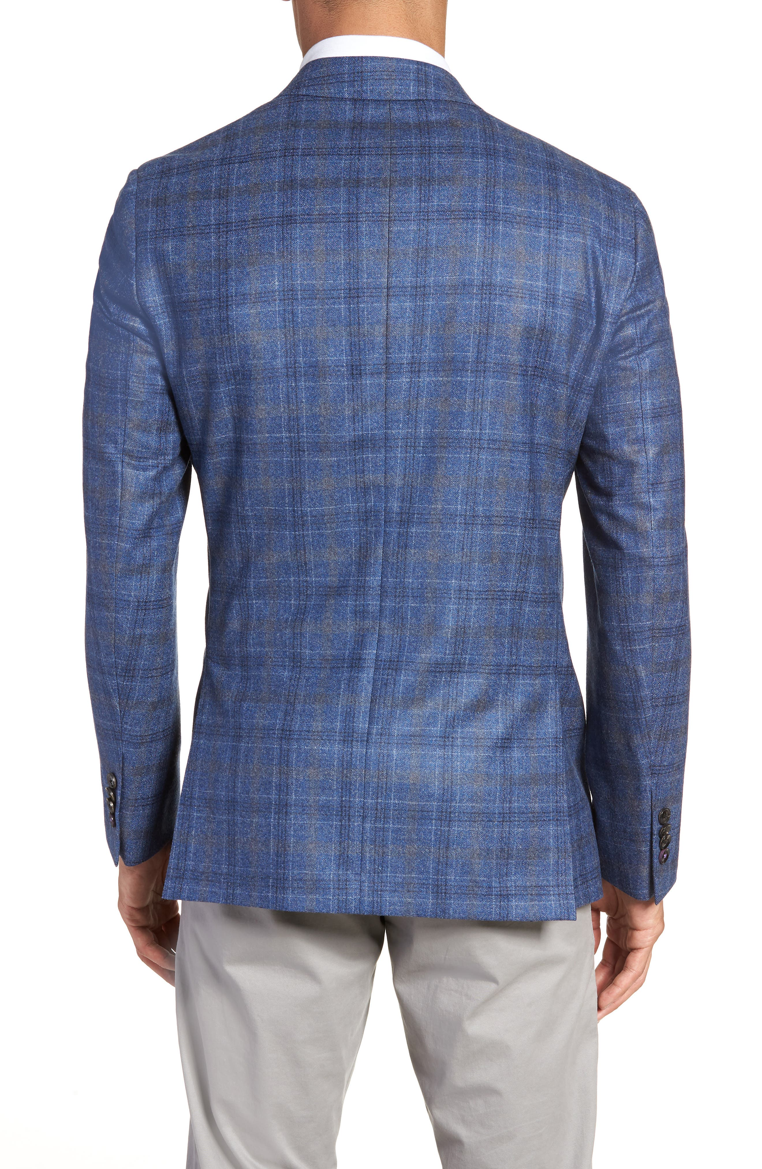 Konan Trim Fit Plaid Wool Sport Coat,                             Alternate thumbnail 2, color,                             BLUE