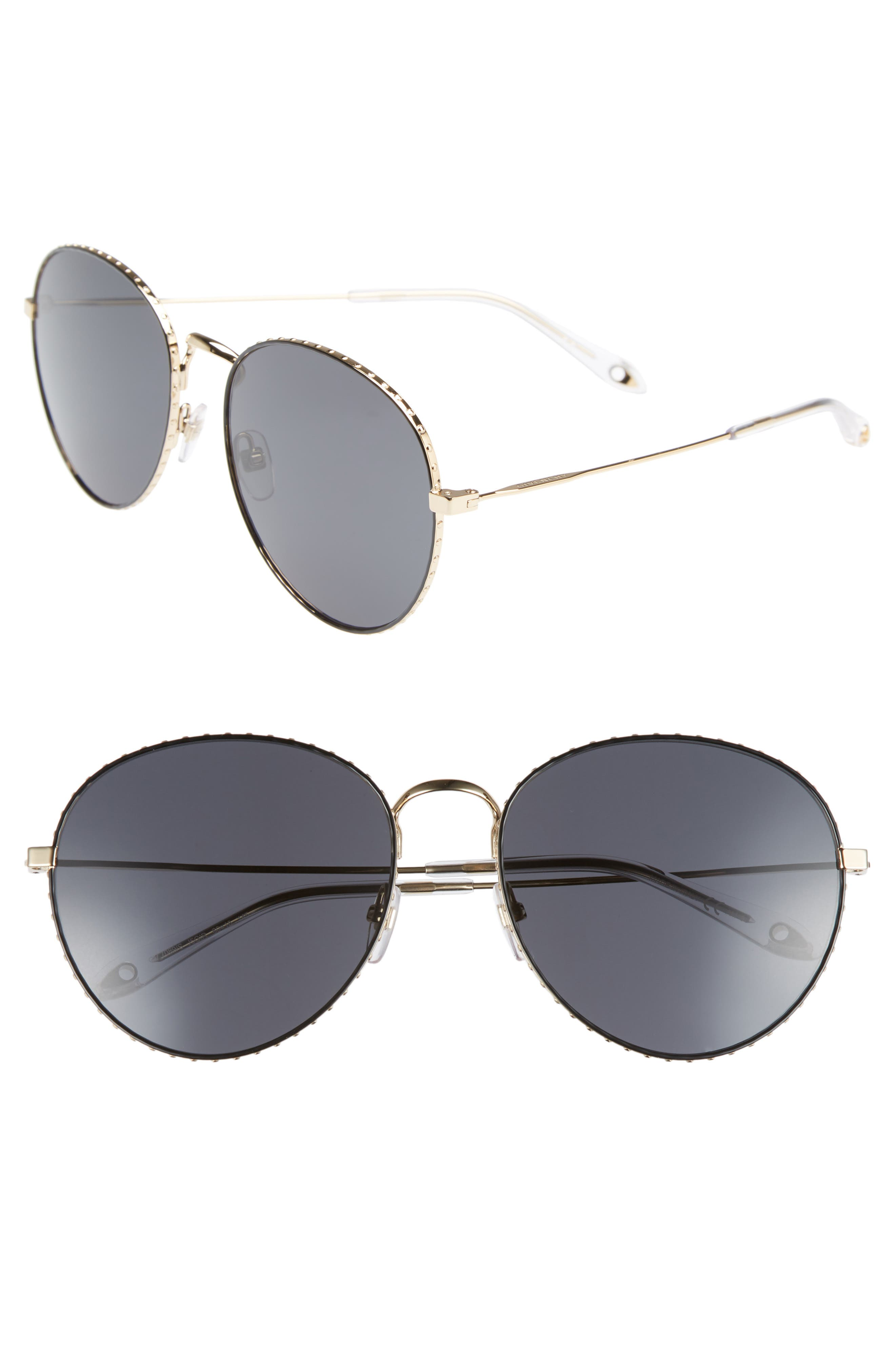 60mm Round Metal Sunglasses,                         Main,                         color, GOLD