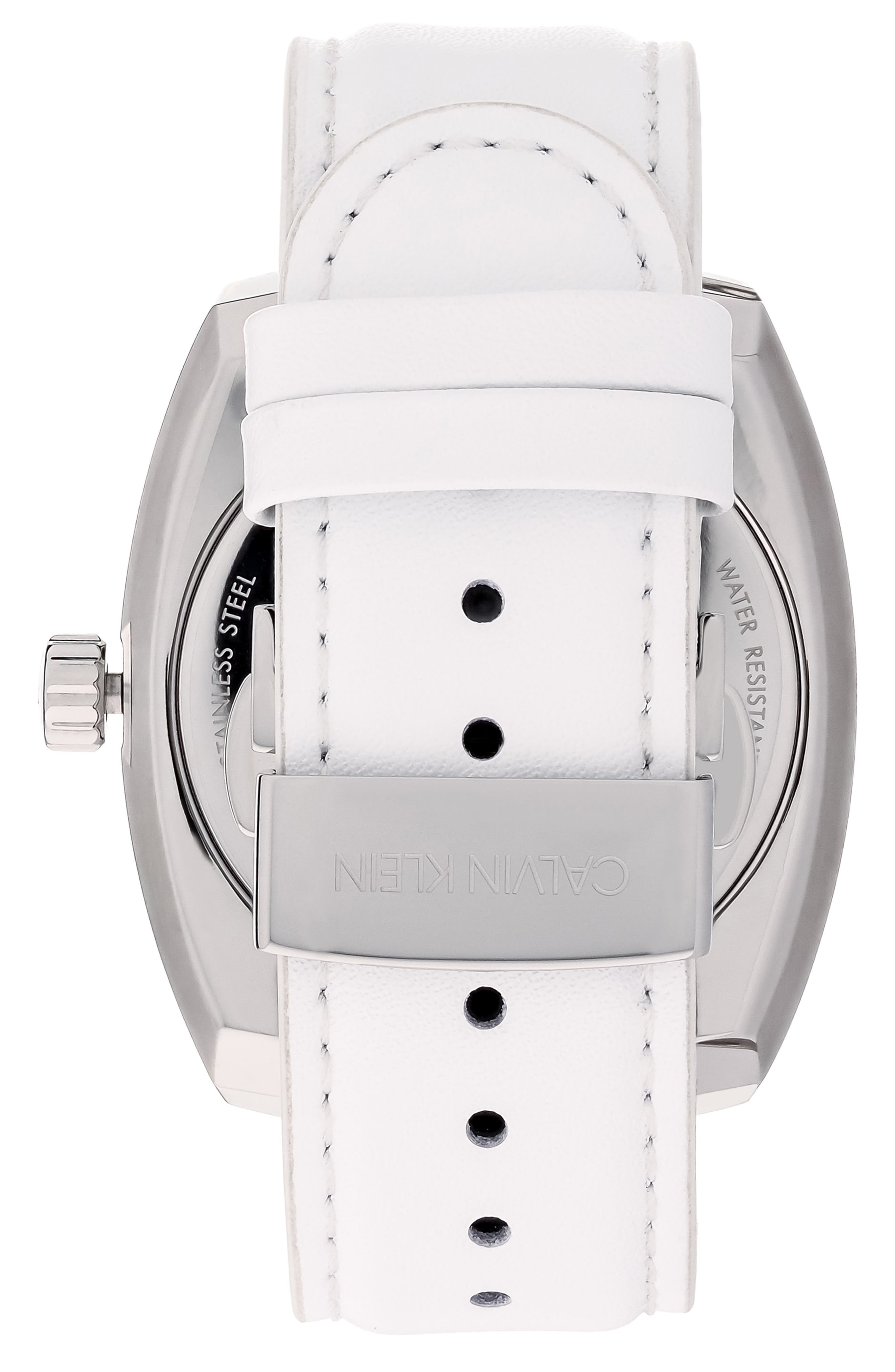 Achieve Leather Band Watch, 43mm,                             Alternate thumbnail 2, color,                             WHITE/ SILVER
