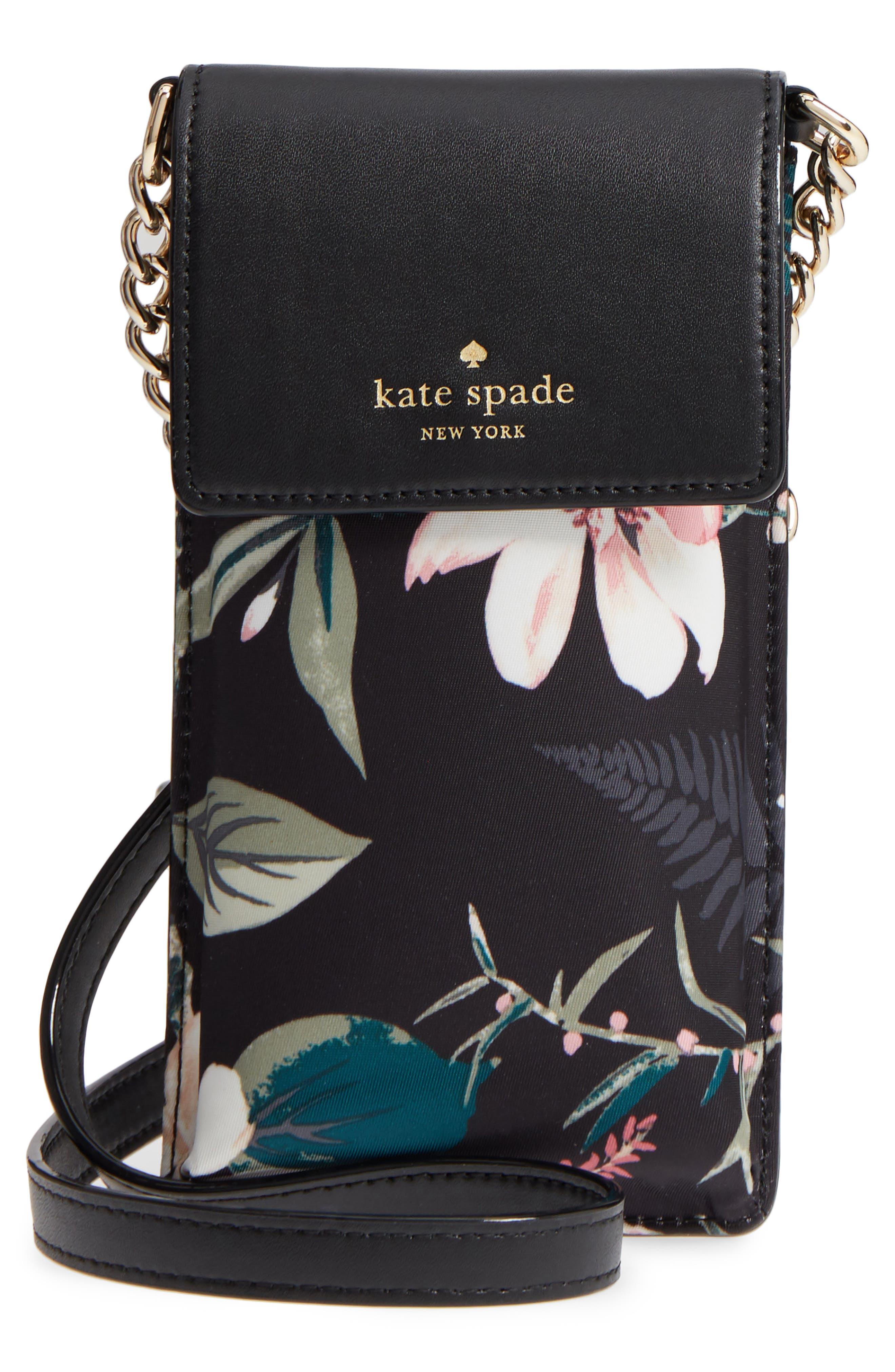 botanical print leather phone crossbody bag,                             Main thumbnail 1, color,