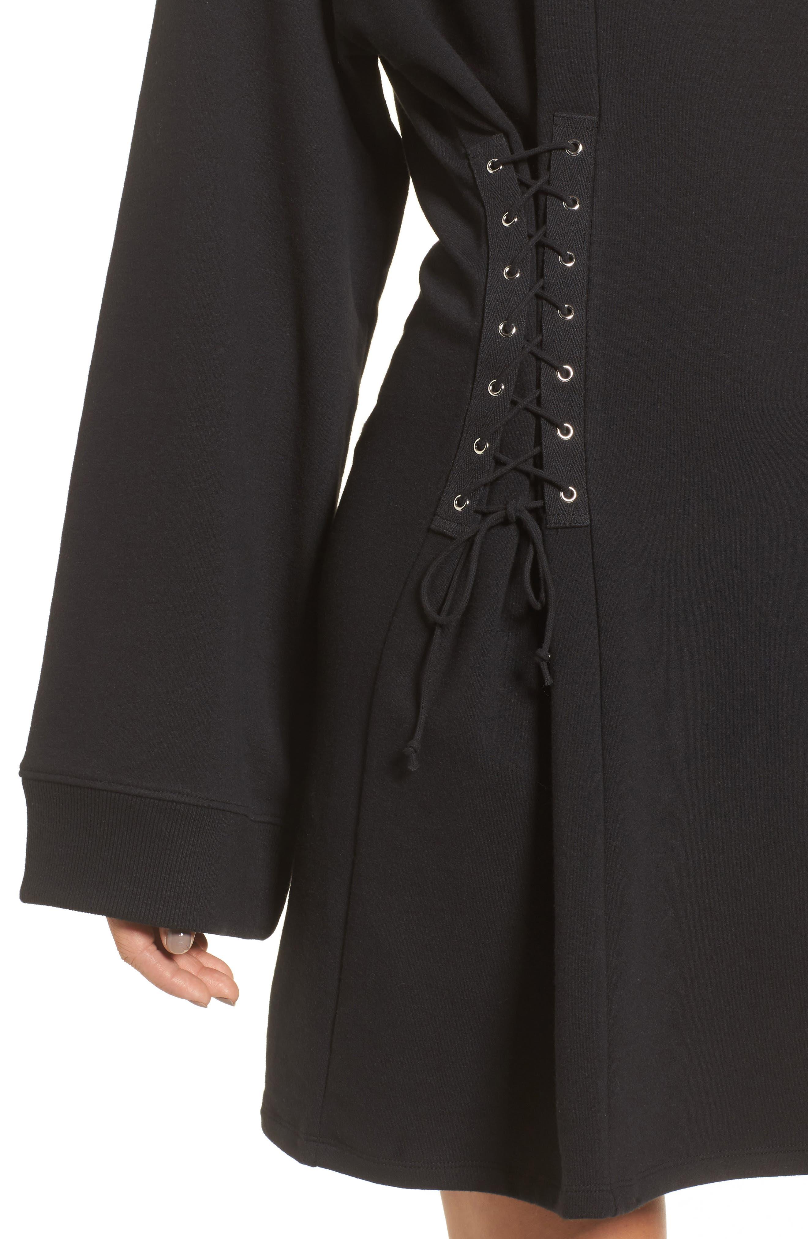 Corset Hoodie Sweatshirt Dress,                             Alternate thumbnail 4, color,                             001