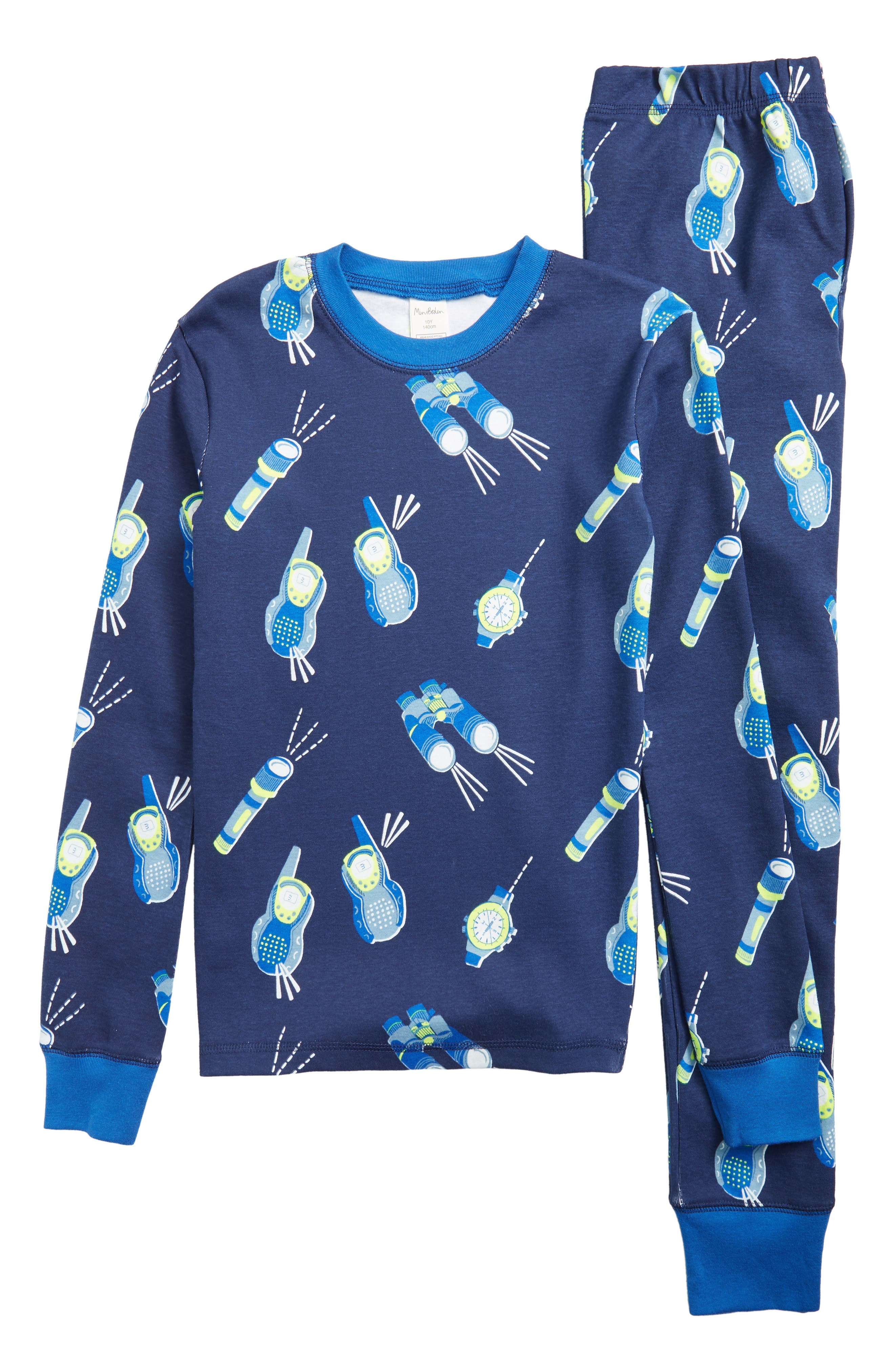 Mini Boden Glow in the Dark Fitted Two-Piece Pajamas, Main, color, BLUE COLLEGE WALKIE TALKIE