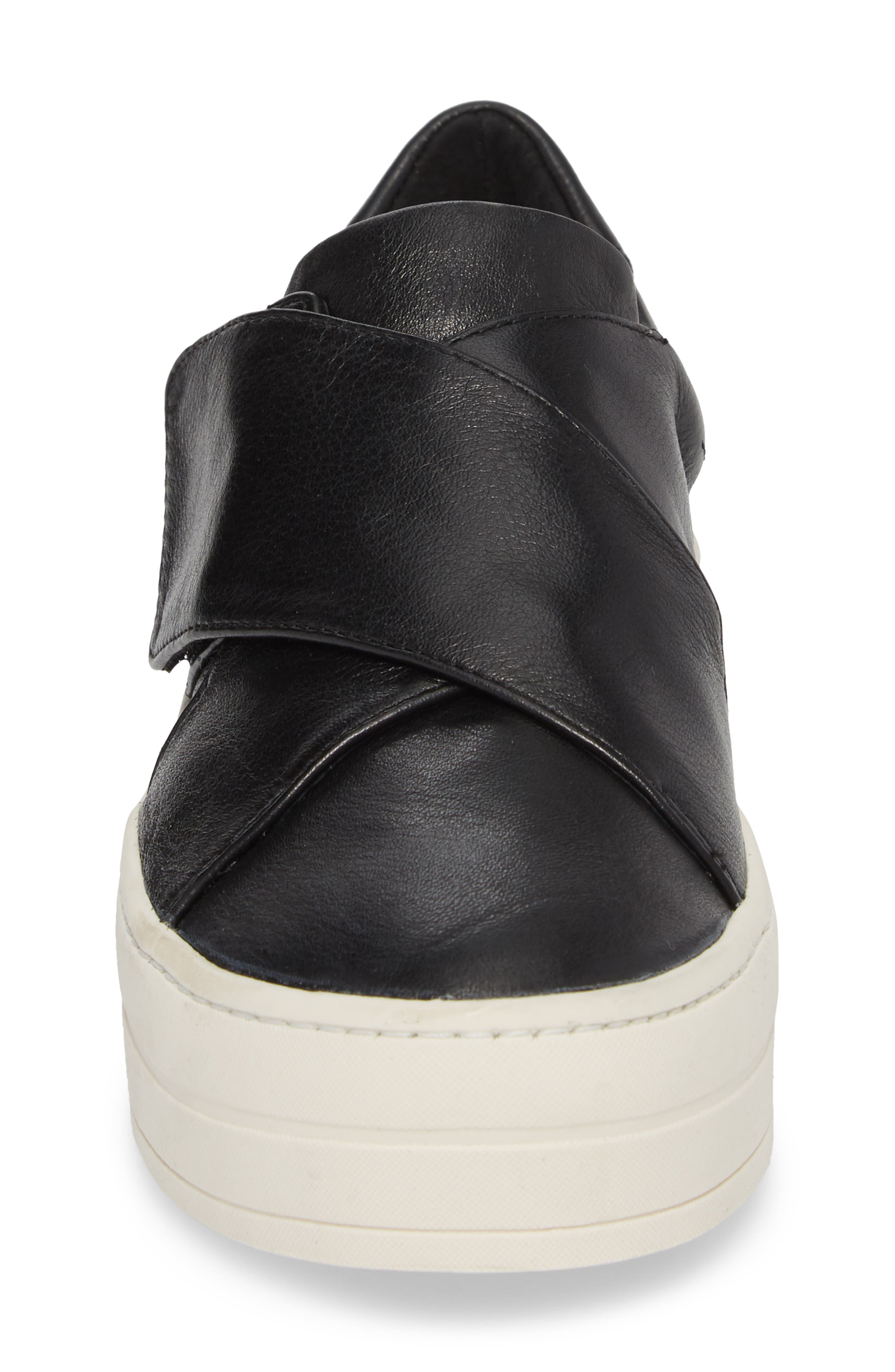 Harper Sneaker,                             Alternate thumbnail 4, color,                             BLACK LEATHER