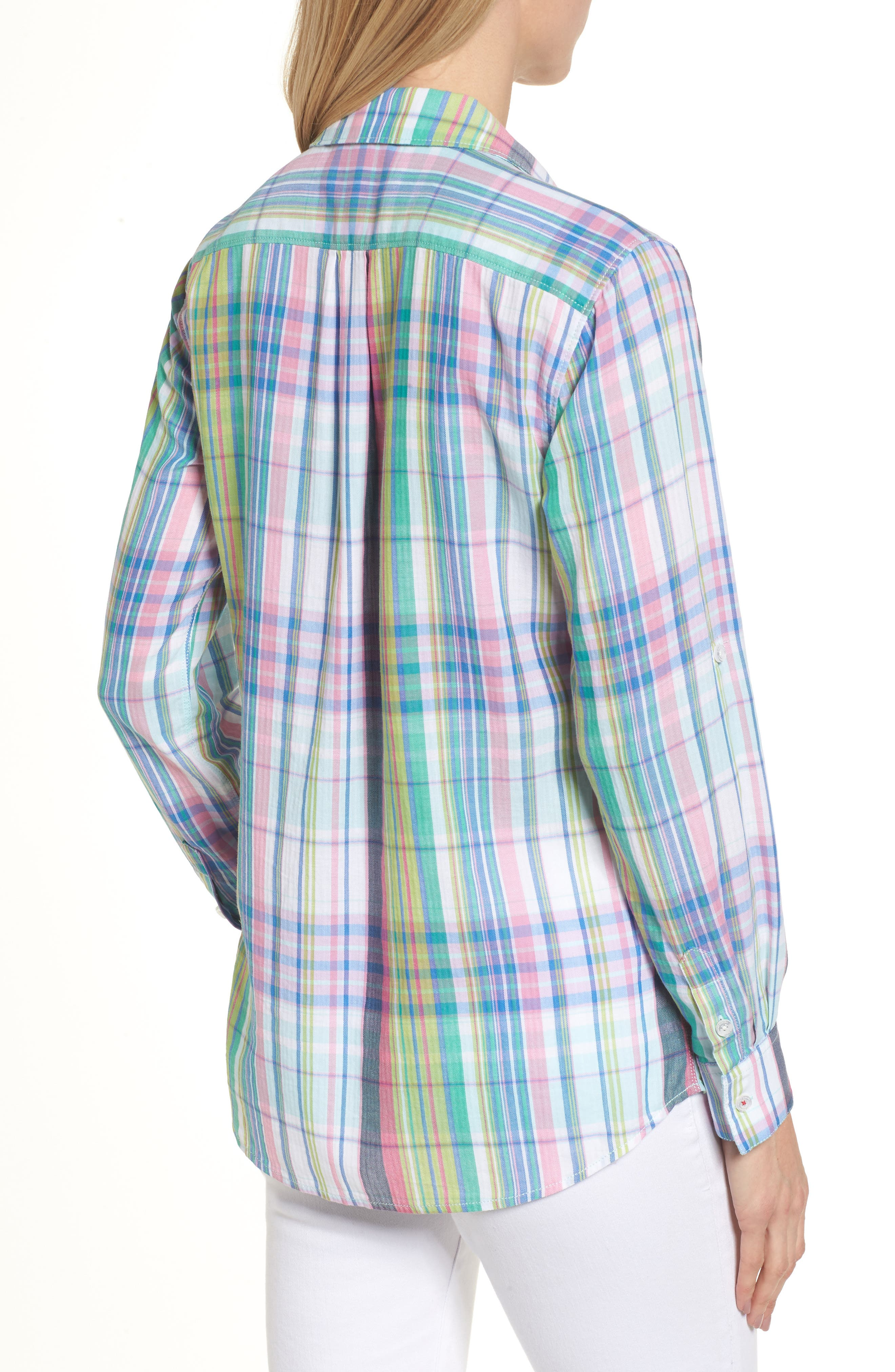 Muffy Madras Button-Up Top,                             Alternate thumbnail 2, color,                             650