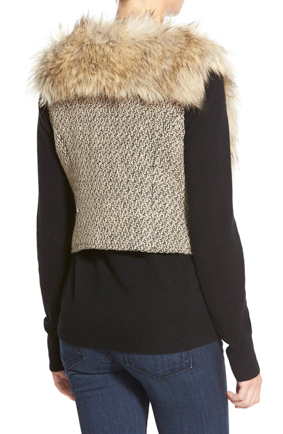 Tweed & Faux Fur Vest,                             Alternate thumbnail 2, color,                             200