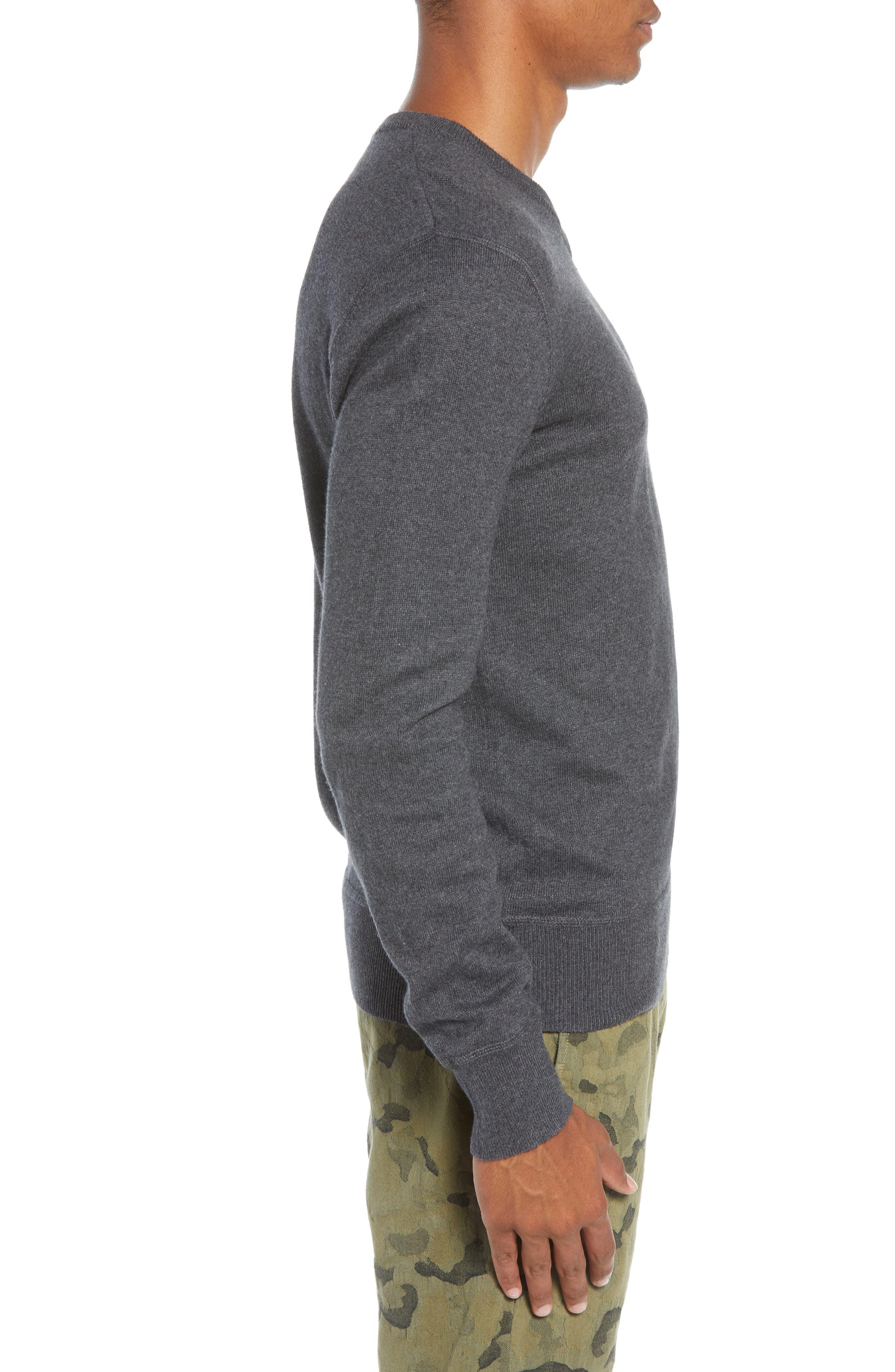 Tournament Slim Fit V-Neck Sweater,                             Alternate thumbnail 3, color,                             HEATHER CHARCOAL