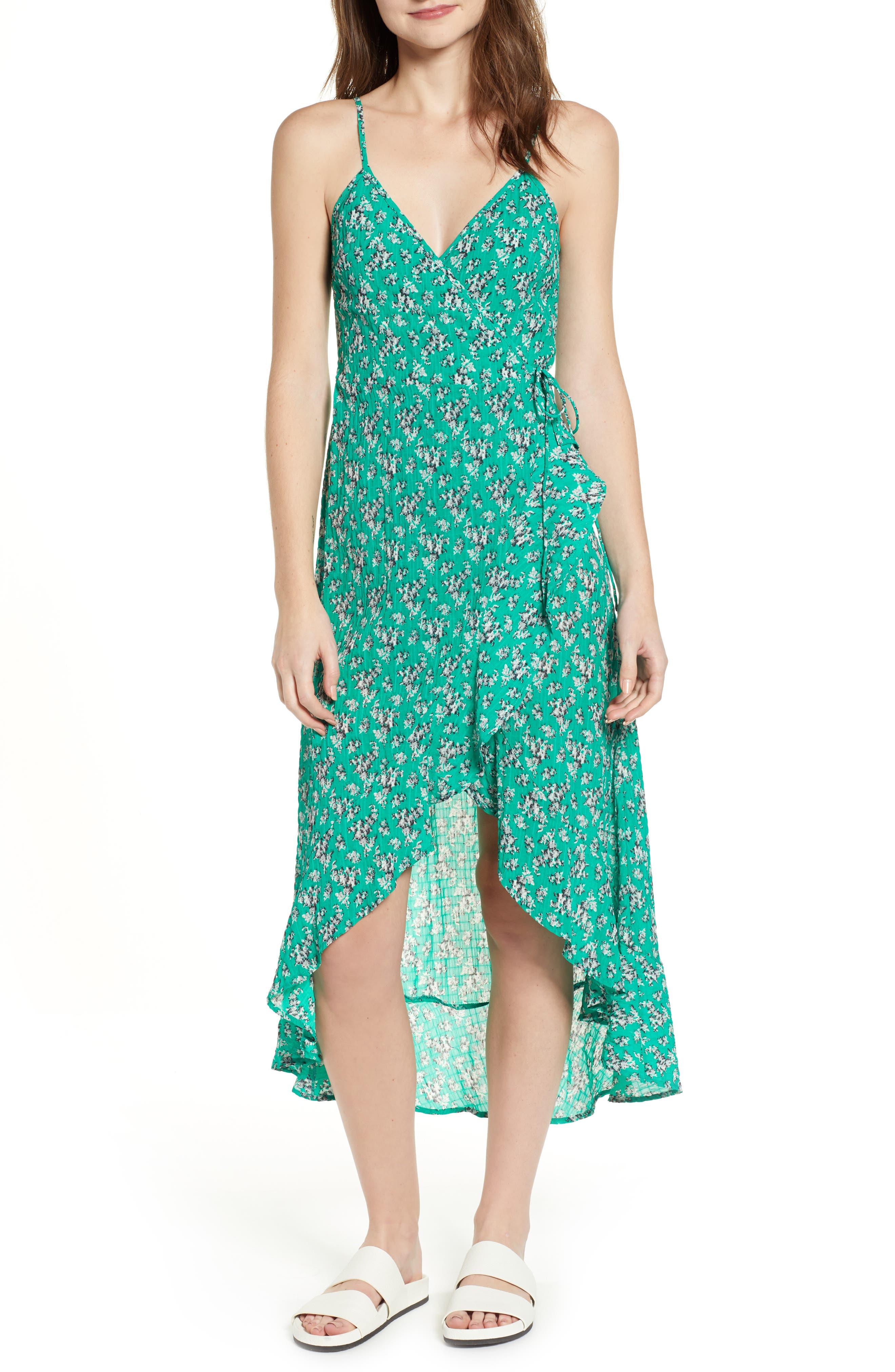 Adventurer Floral Print High/Low Dress,                             Main thumbnail 1, color,                             GREEN FLORAL