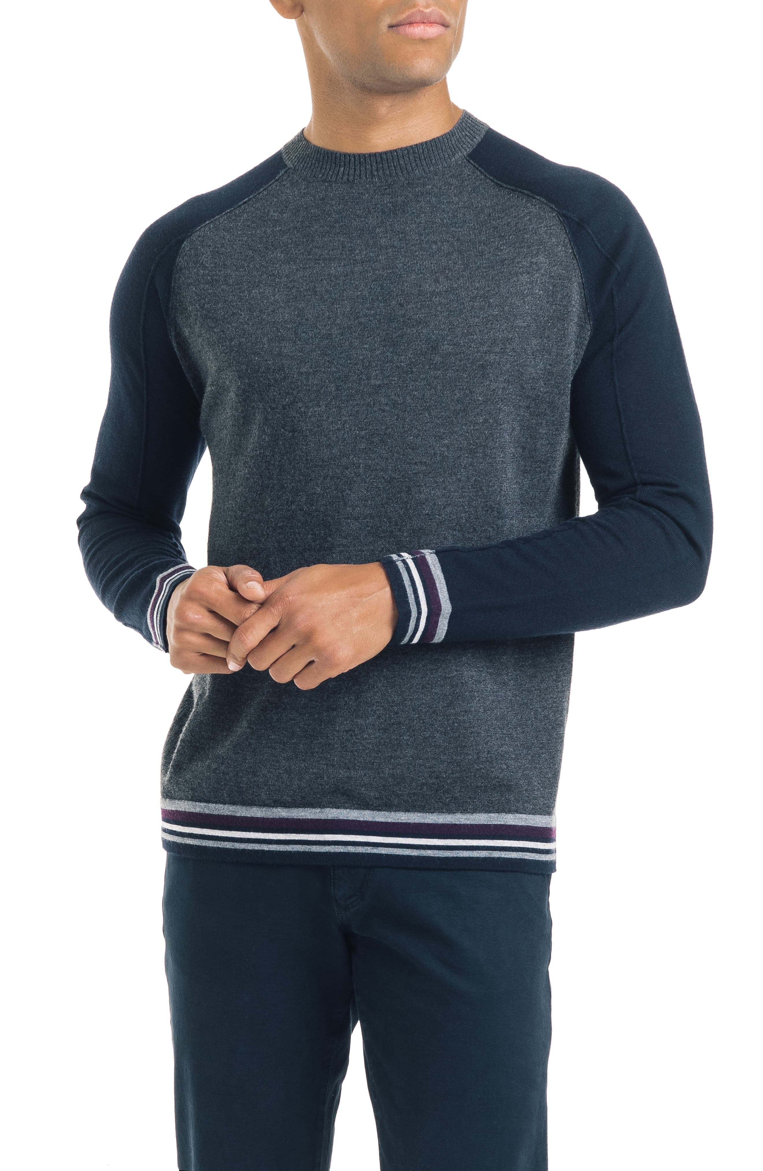 GOOD MAN BRAND Mix Modern Slim Fit Wool Sweater in Charcoal Heather