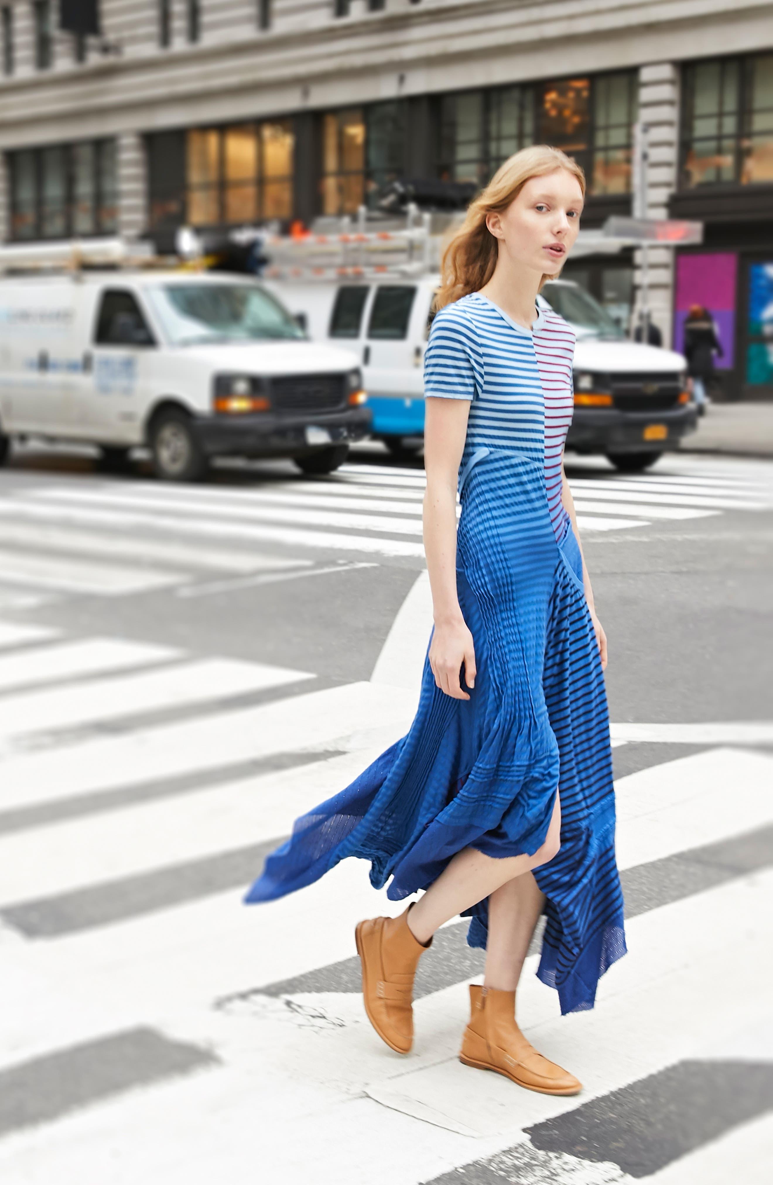 LOEWE,                             Stripe Tie Dye Asymmetrical Dress,                             Alternate thumbnail 7, color,                             5100 BLUE