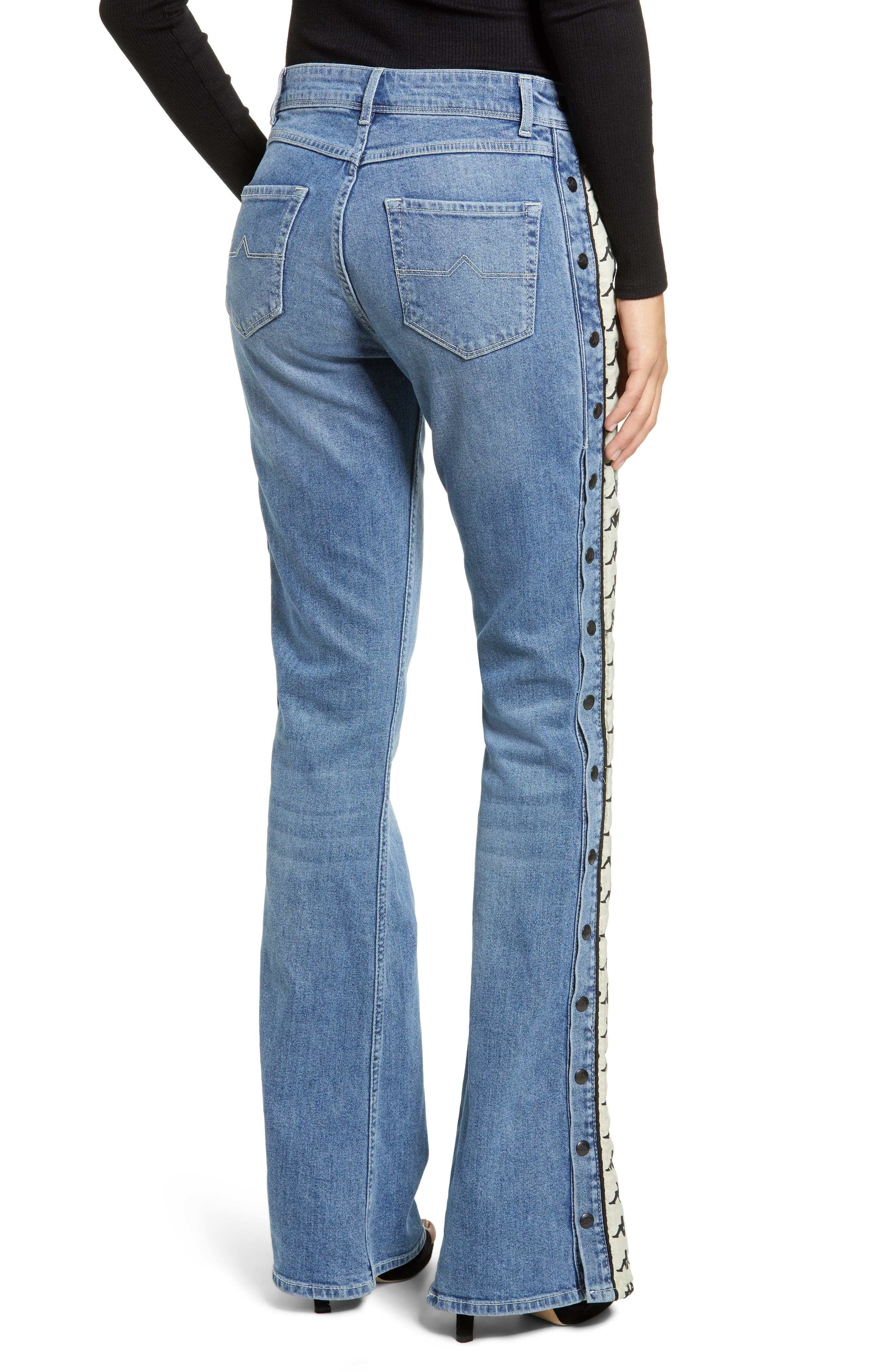 Authentic Brigit Flare Leg Jeans,                             Alternate thumbnail 2, color,                             LIGHT COBALT/ BEIGE
