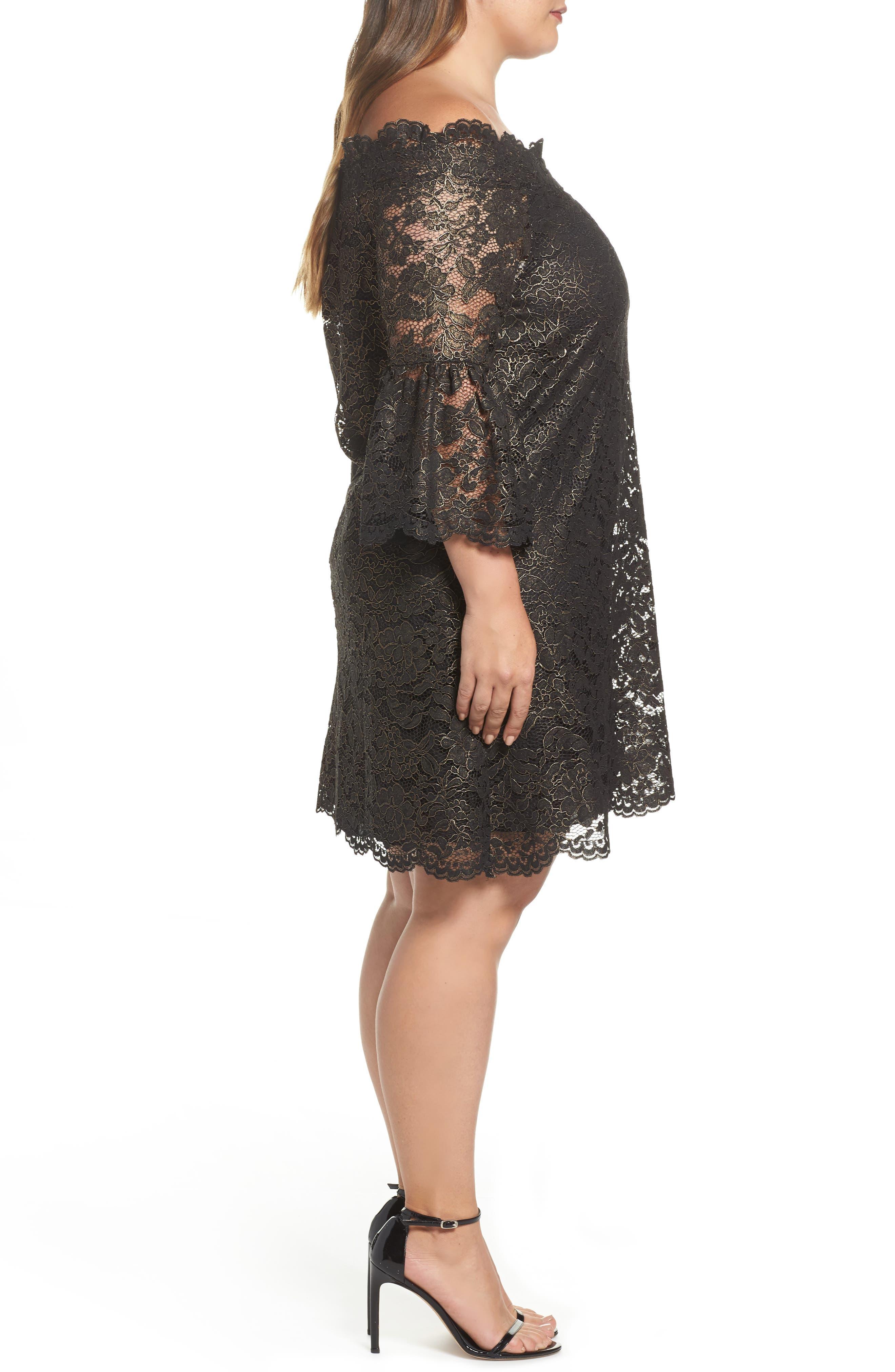 Off the Shoulder Black Gold Lace Dress,                             Alternate thumbnail 3, color,                             005