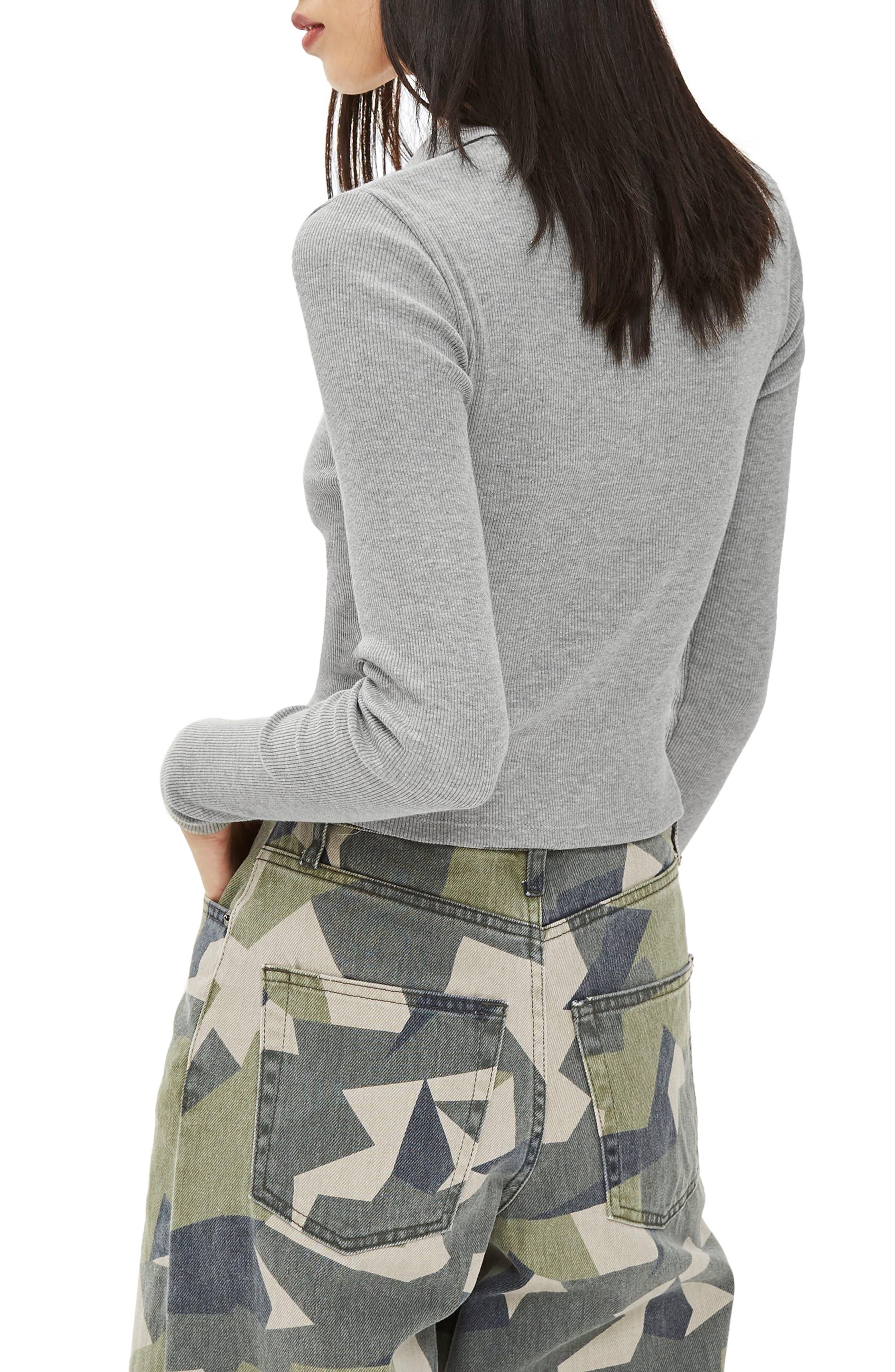 Front Zip Polo Shirt,                             Alternate thumbnail 2, color,                             GREY MARL