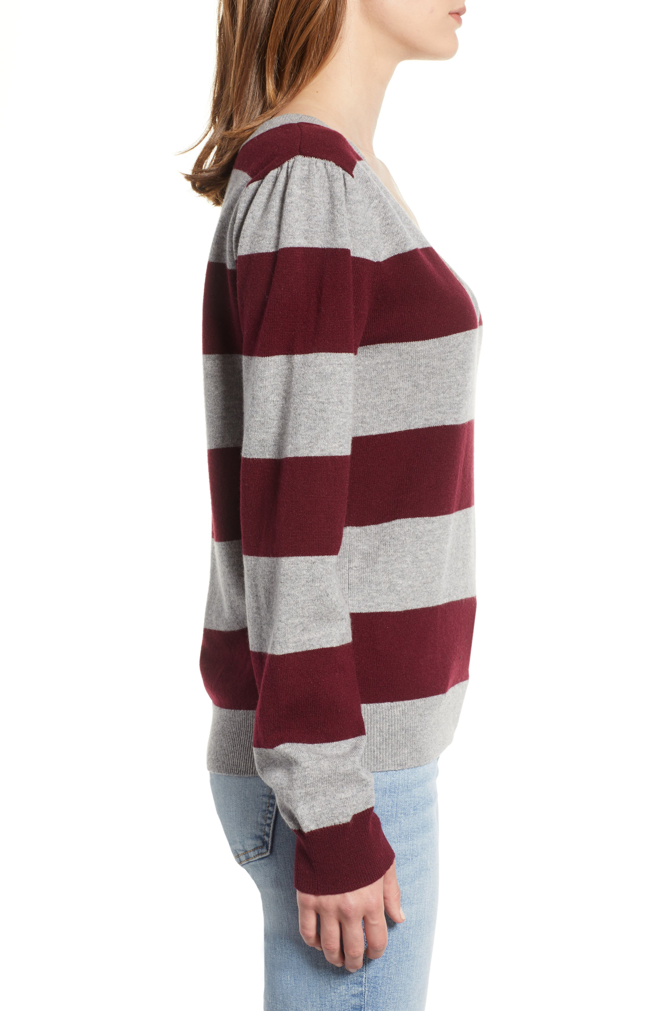 Tara Stripe Cashmere Sweater,                             Alternate thumbnail 3, color,                             DARK RED/ HEATHER GREY