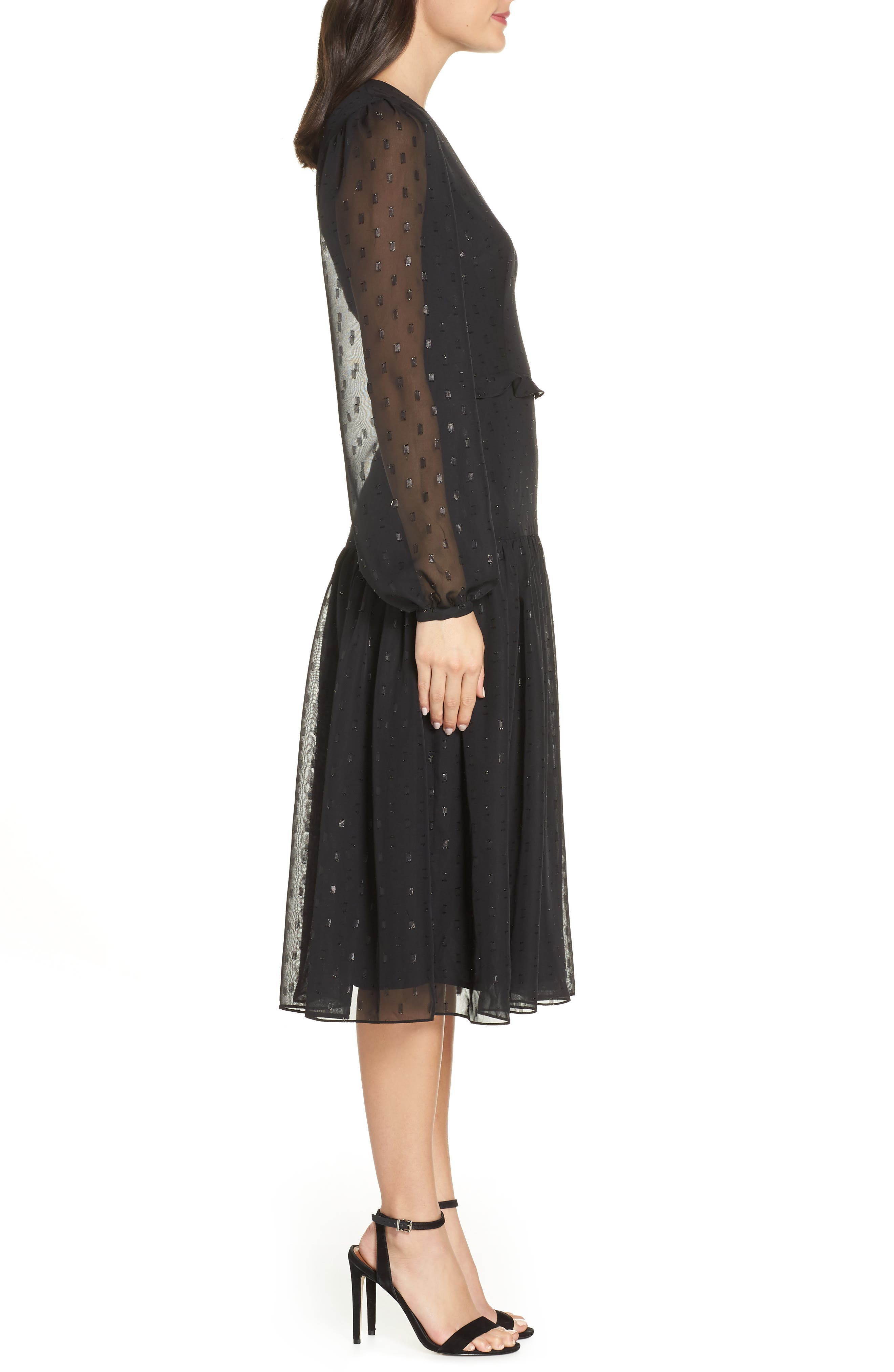 Fil Coupé Midi Dress,                             Alternate thumbnail 4, color,                             BLACK