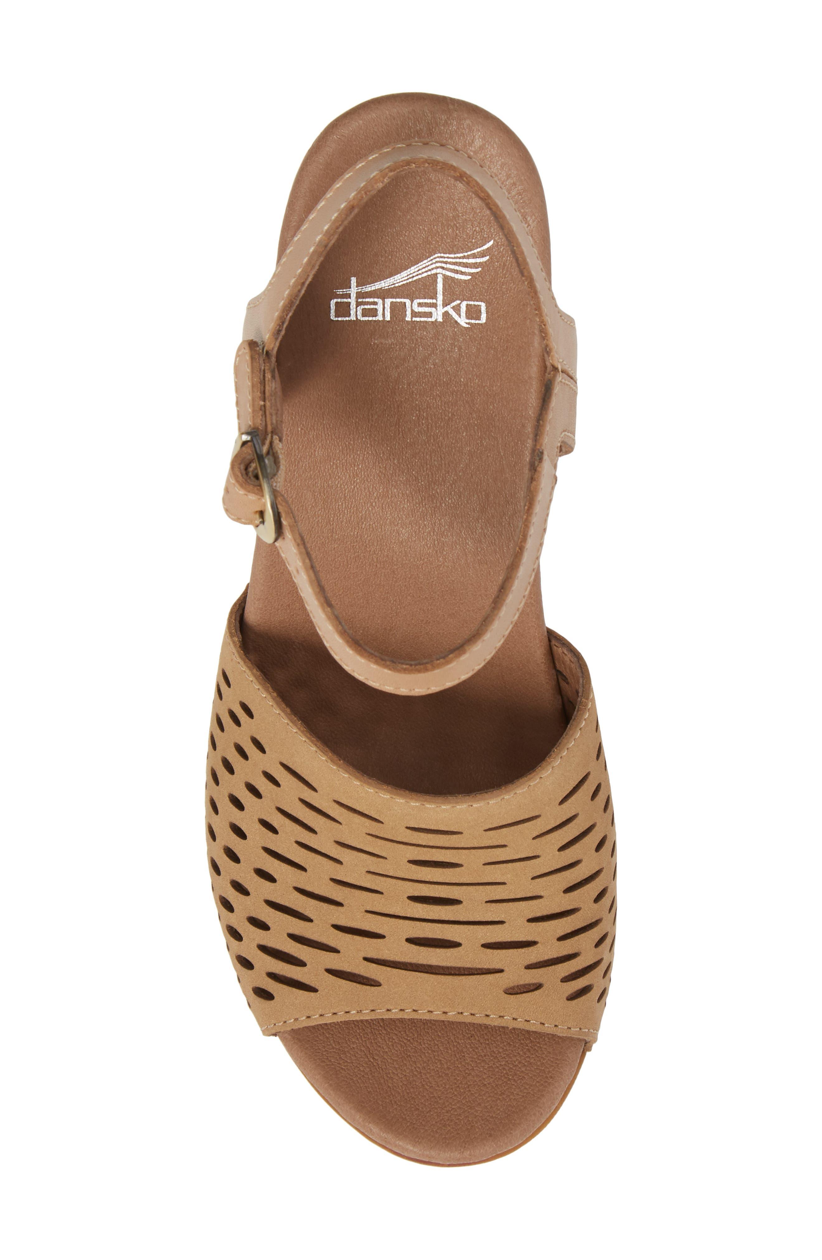 Denita Block Heel Sandal,                             Alternate thumbnail 5, color,                             SAND MILLED NUBUCK