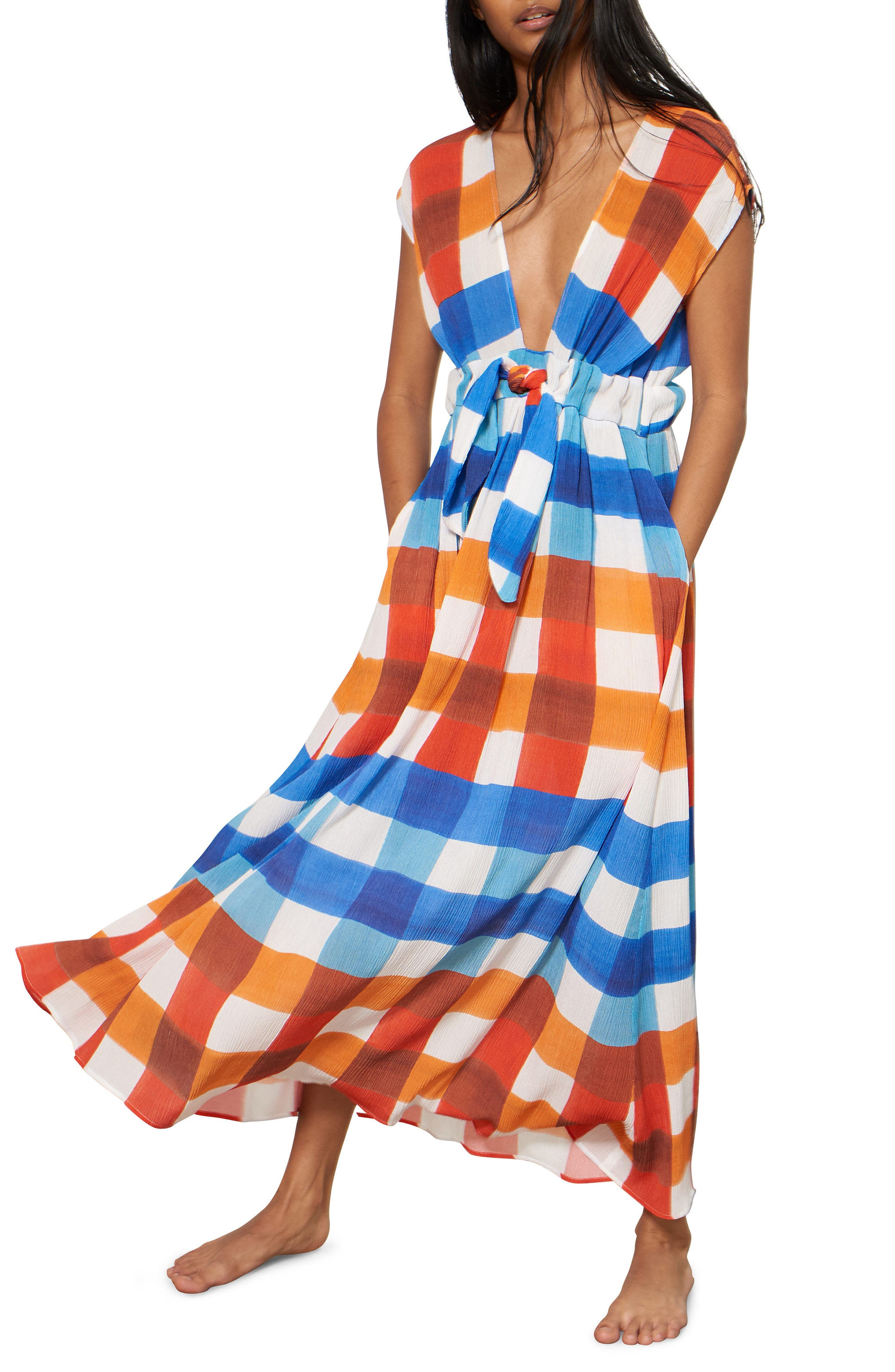 Katinka Check Cover-Up Maxi Dress,                         Main,                         color, RED/ BLUE MULTI