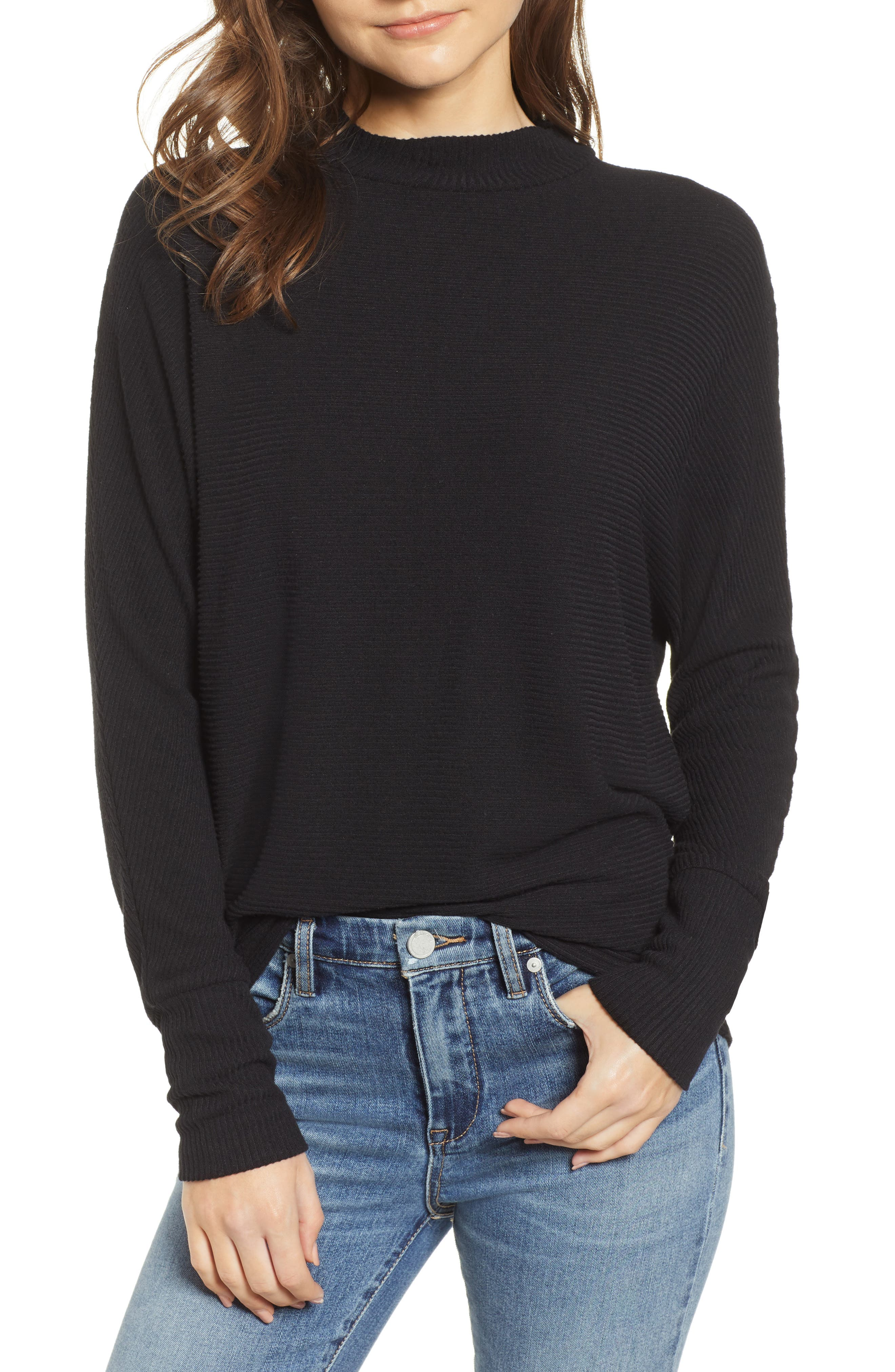 Dolman Sleeve Ribbed Top,                             Main thumbnail 1, color,                             BLACK