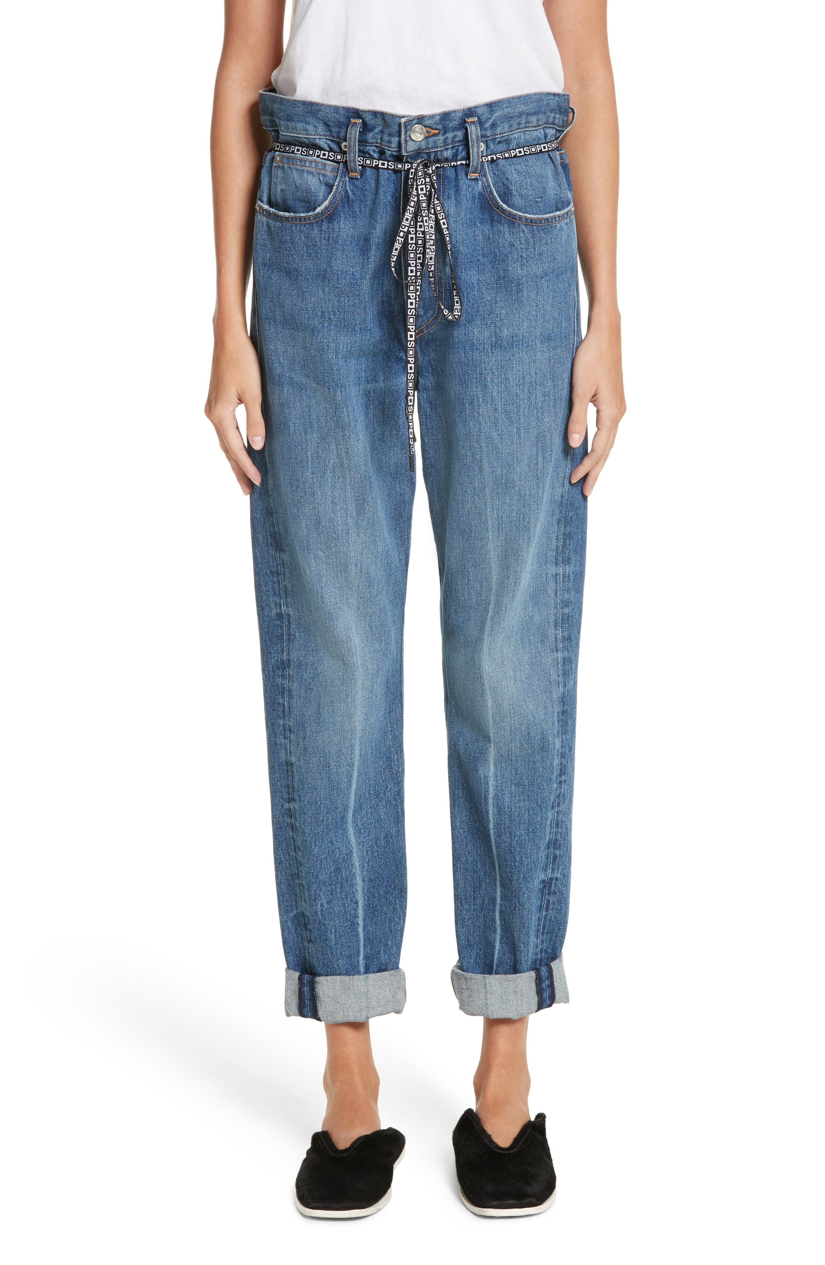 PSWL Cuffed Straight Leg Jeans,                             Alternate thumbnail 2, color,                             MEDIUM BLUE