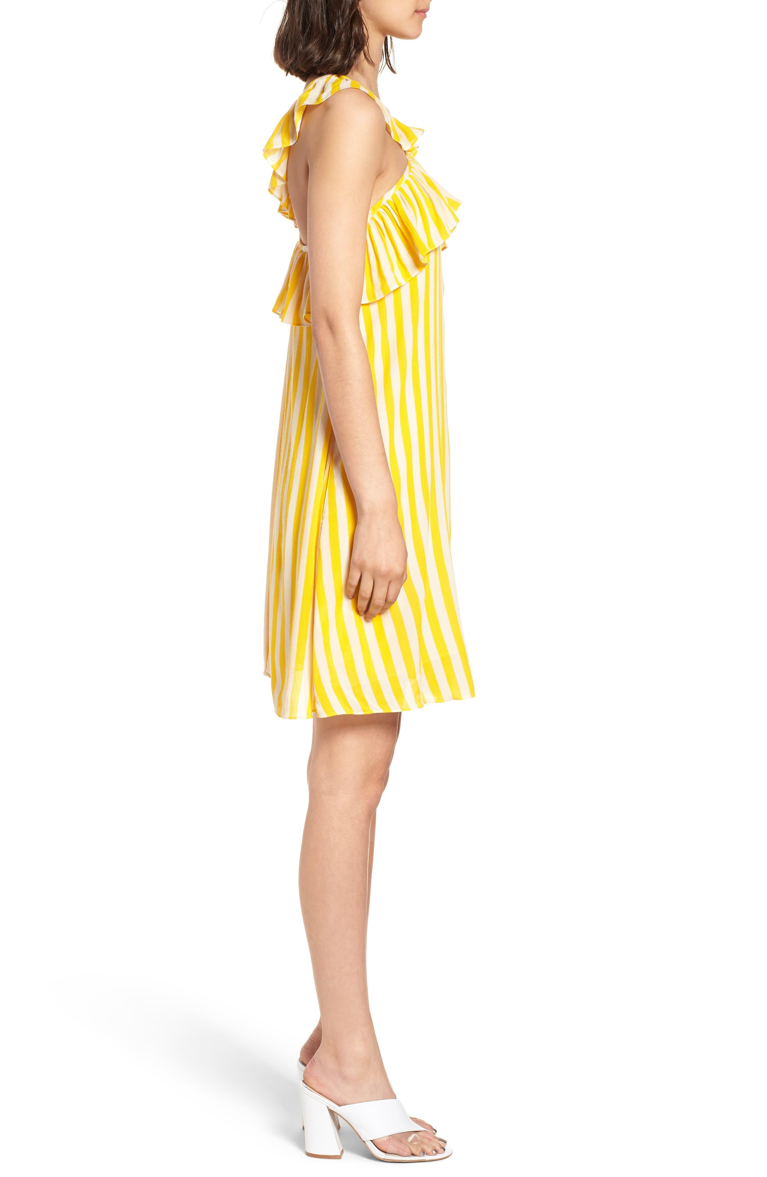 Tinsley Halter Dress,                             Alternate thumbnail 3, color,                             YELLOW STRIPE