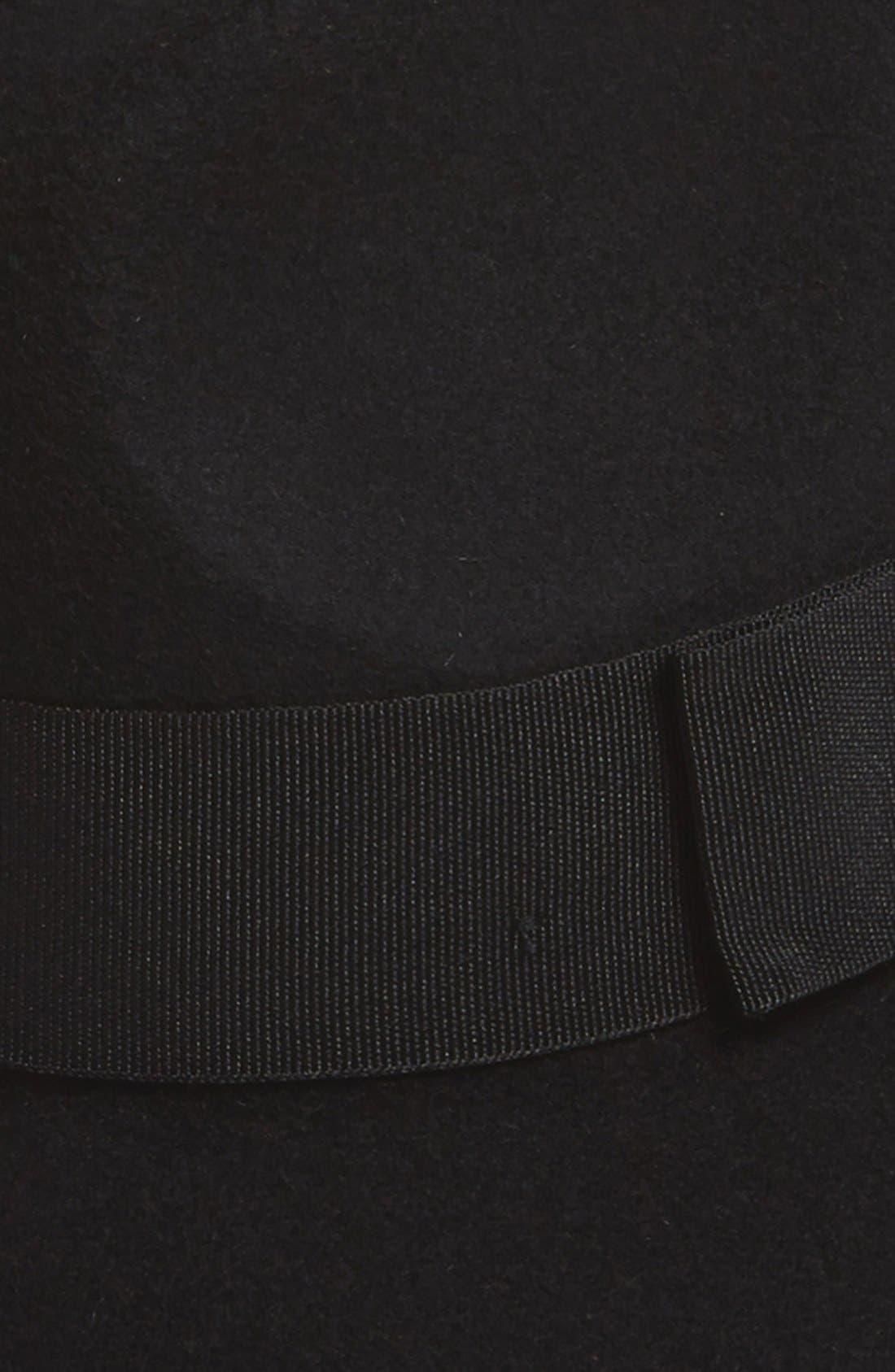 'Piper' Floppy Wool Hat,                             Alternate thumbnail 4, color,                             BLACK/ BLACK