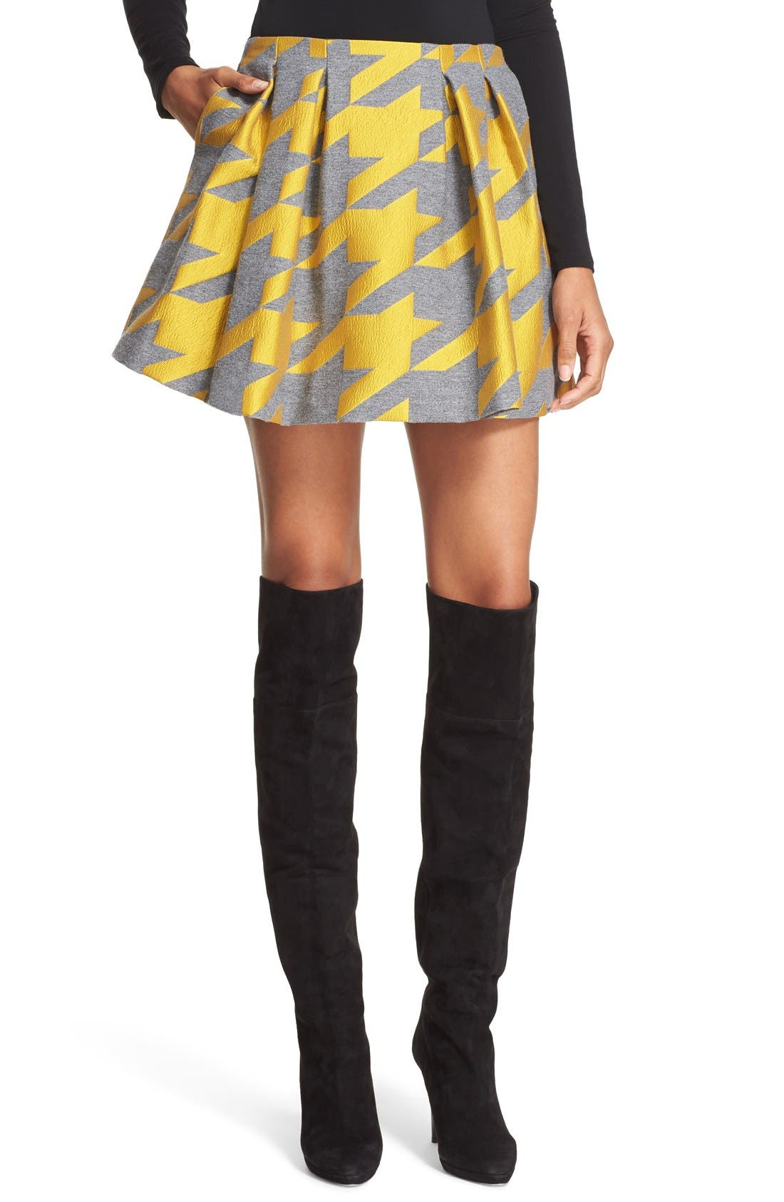 ALICE + OLIVIA 'Connor' Oversize Houndstooth Lampshade Skirt, Main, color, 700