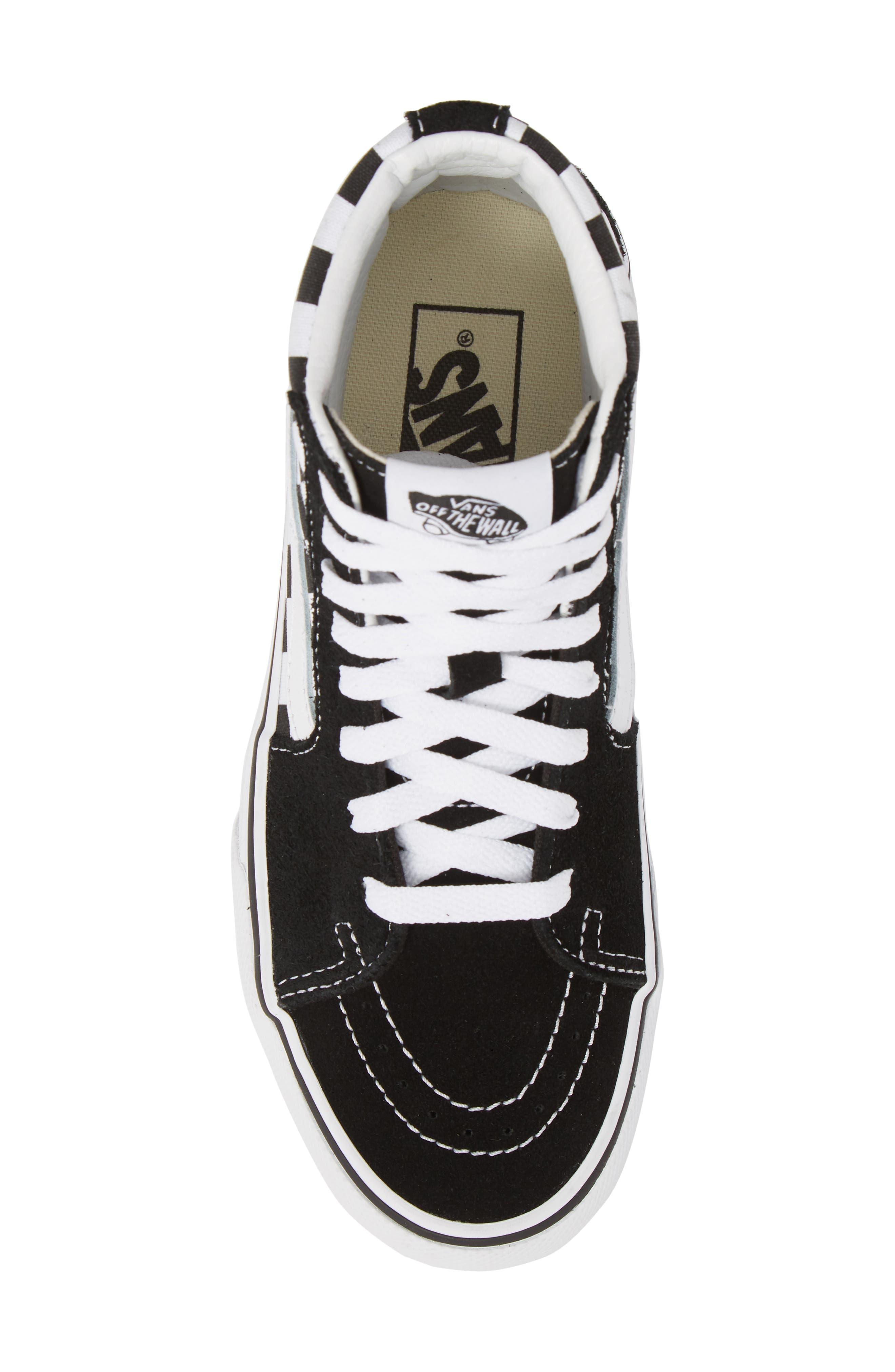 UA Sk8-Hi Platform Checkerboard Sneaker,                             Alternate thumbnail 5, color,                             CHECKER BOARD/ TRUE WHITE