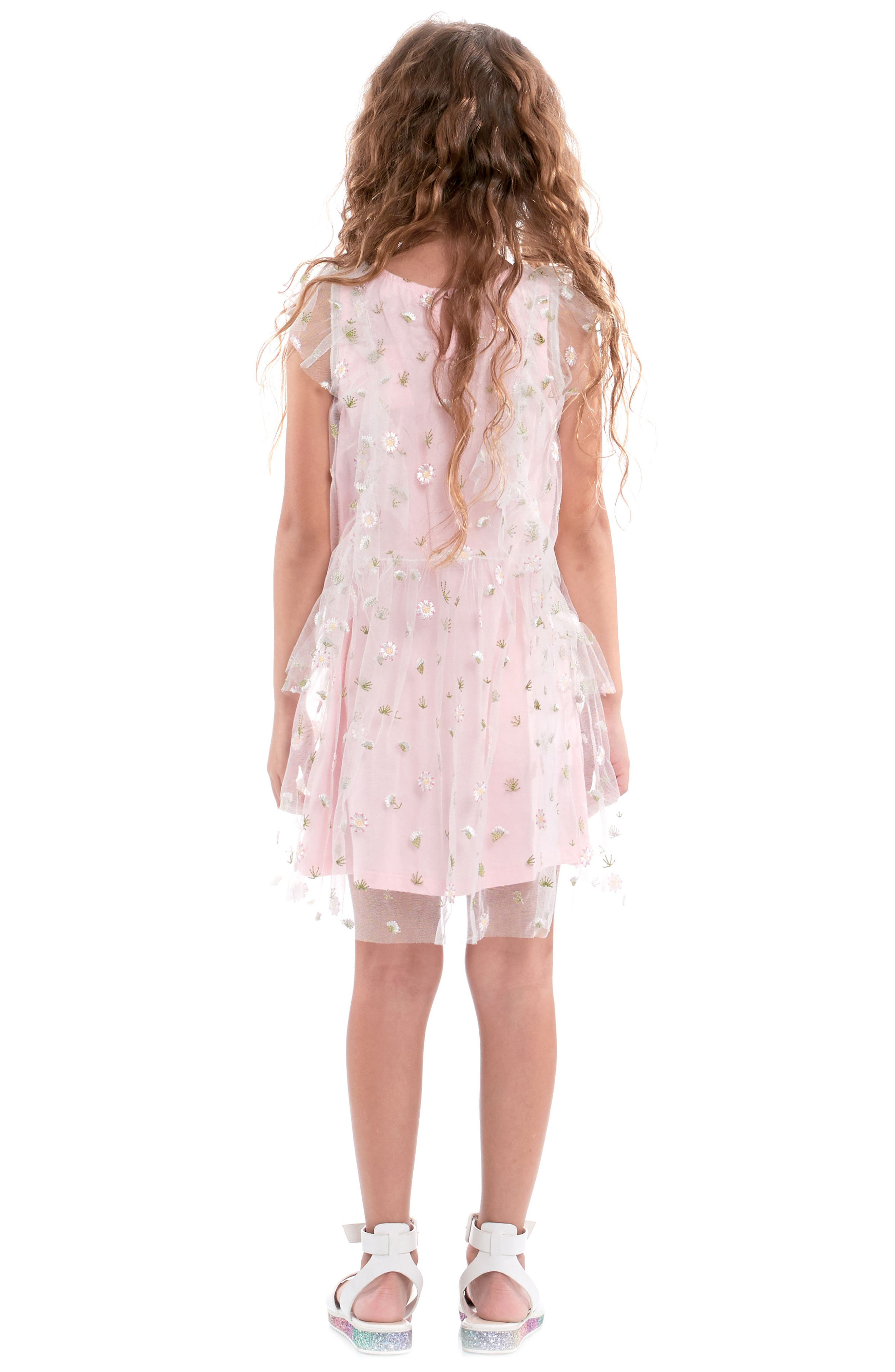 Embroidered Mesh Dress,                             Alternate thumbnail 3, color,