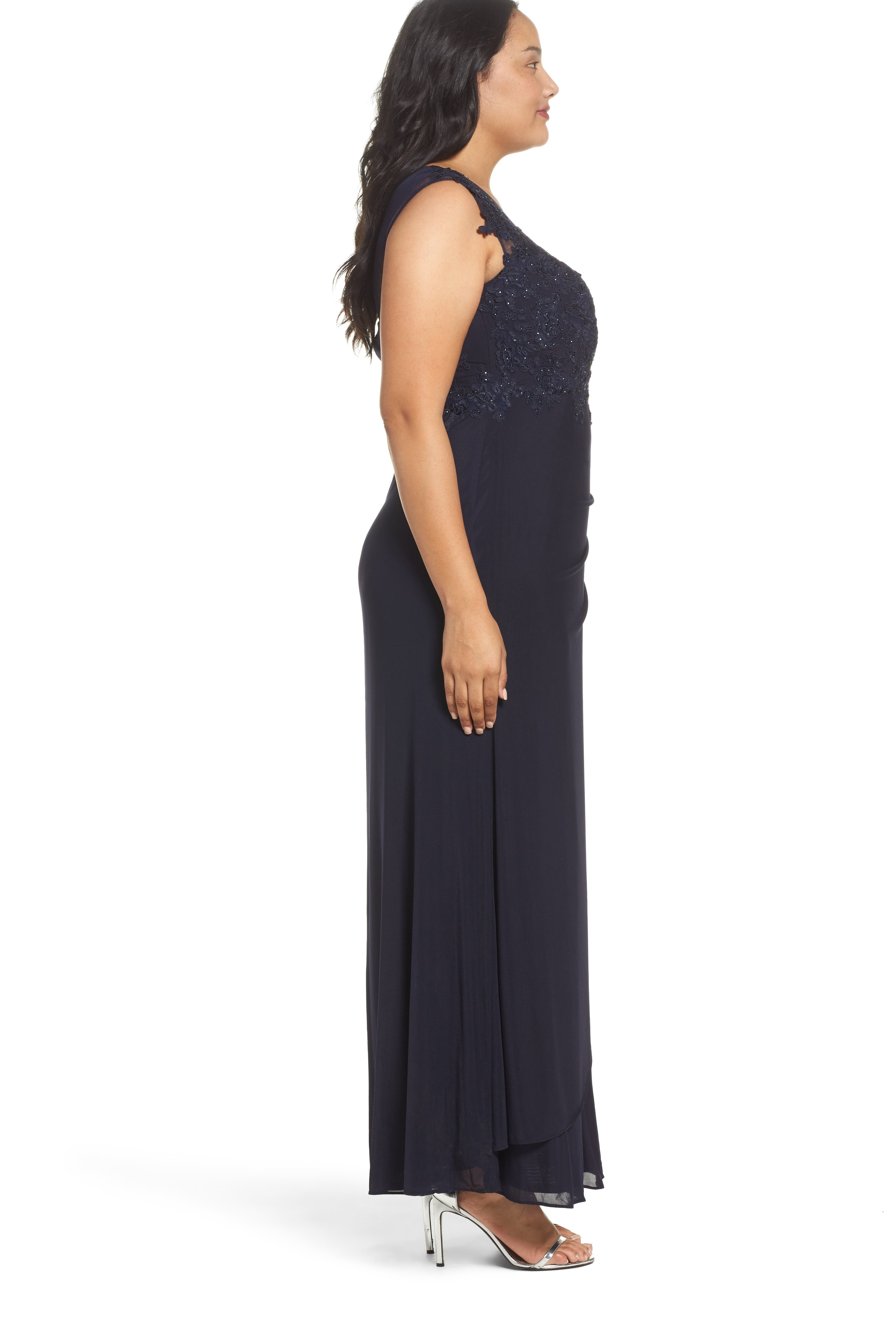 Sequin Embroidered A-Line Gown,                             Alternate thumbnail 3, color,                             411