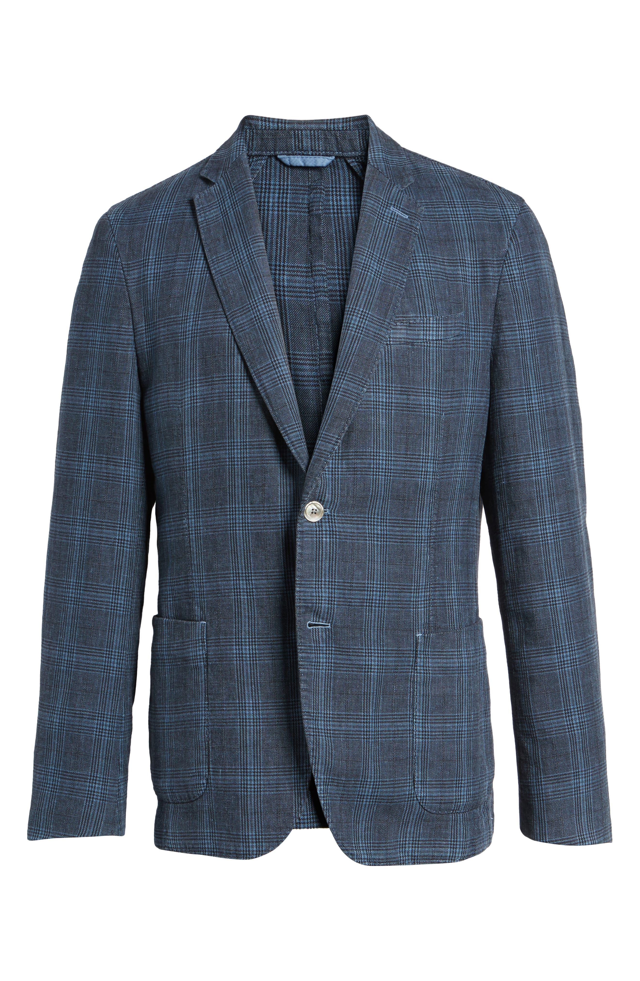 Hanry-D Trim Fit Plaid Linen & Cotton Sport Coat,                             Alternate thumbnail 5, color,                             BLUE