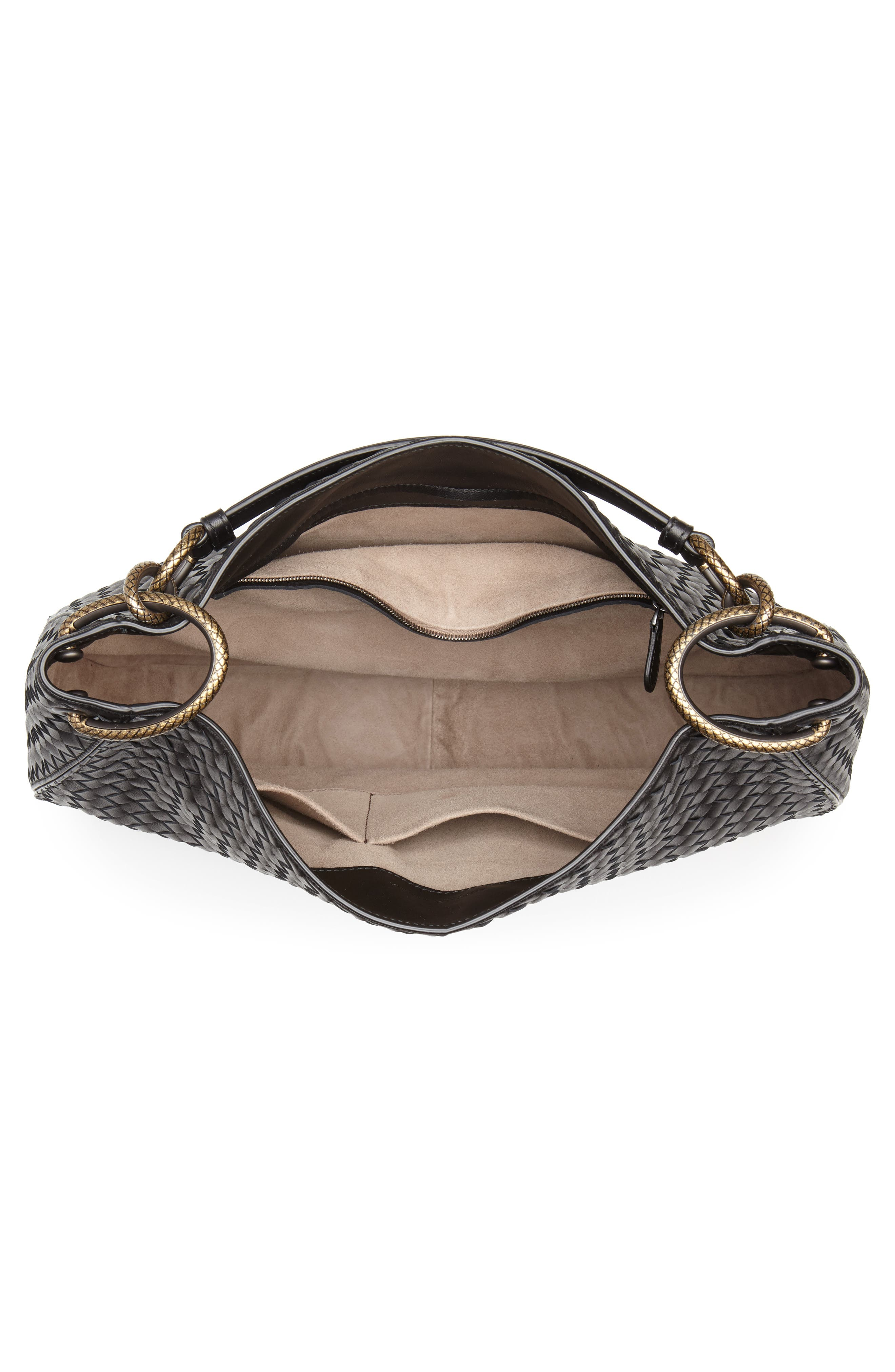Large Loop Woven Leather Hobo,                             Alternate thumbnail 4, color,                             NERO