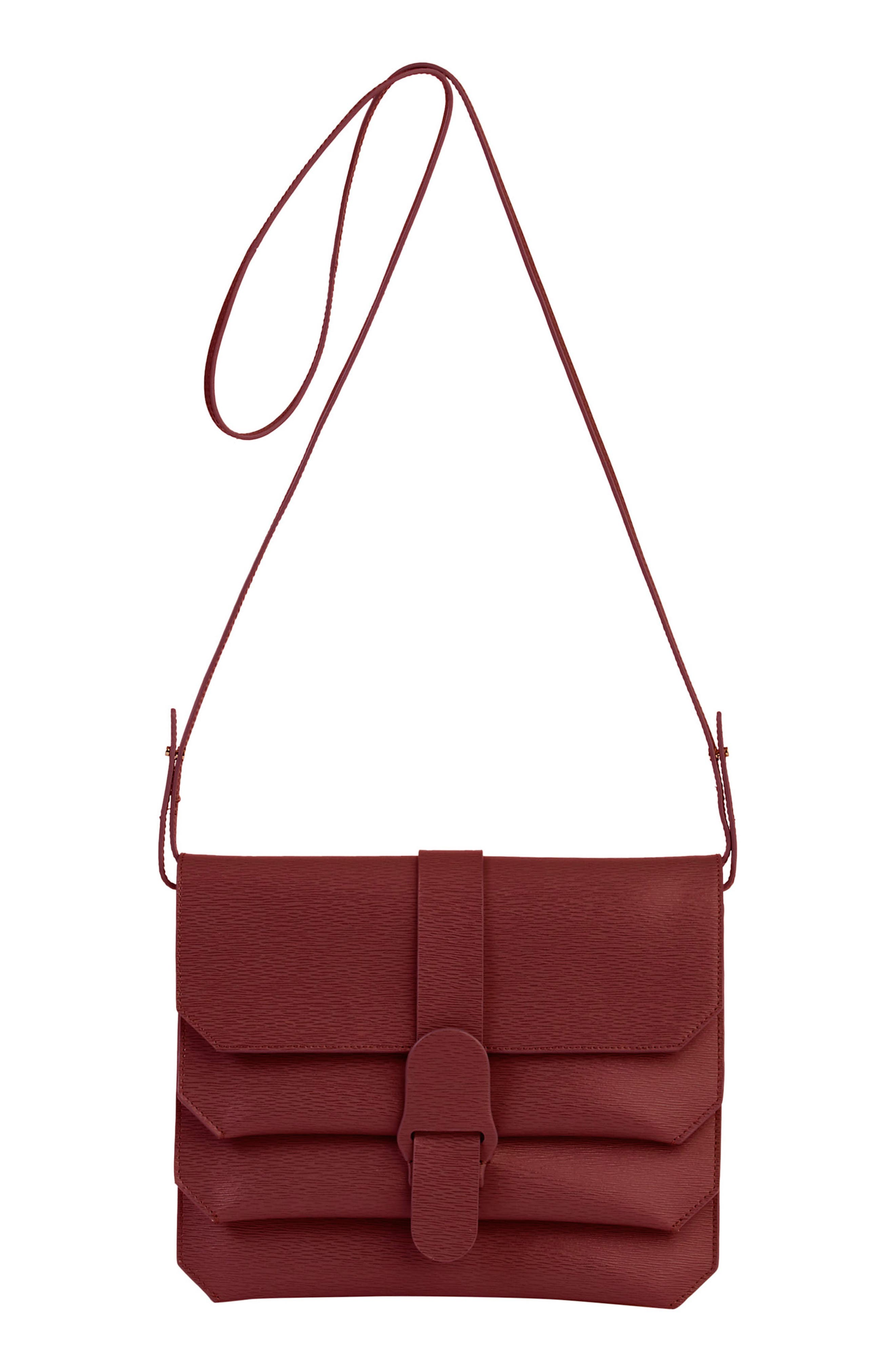 Mimosa Textured Leather Crossbody Bag,                         Main,                         color,