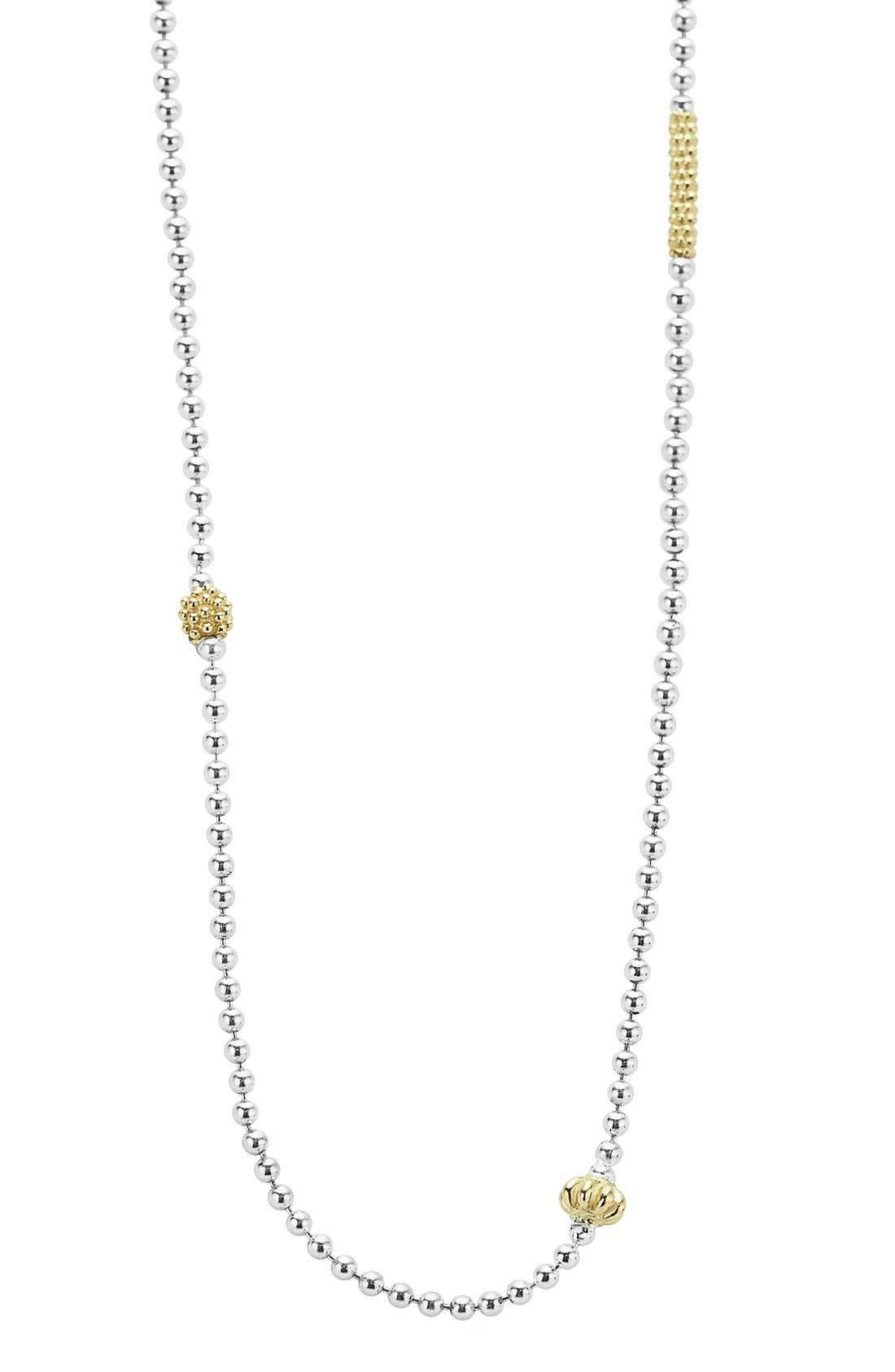 'Caviar Icon' Chain Necklace,                             Alternate thumbnail 3, color,                             SILVER/ GOLD