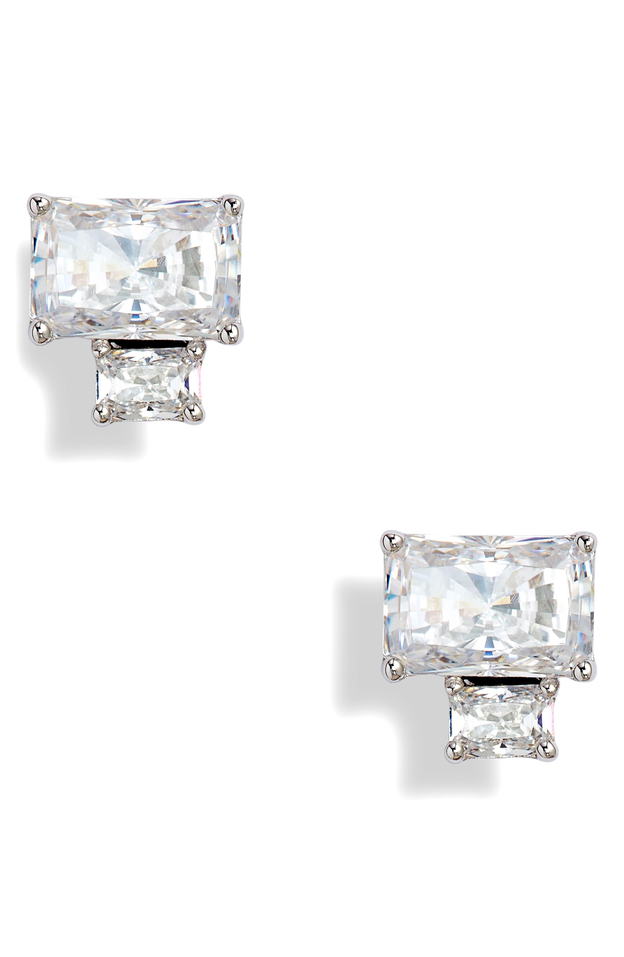 NADRI Baguette Cut Crystal Stud Earrings in White