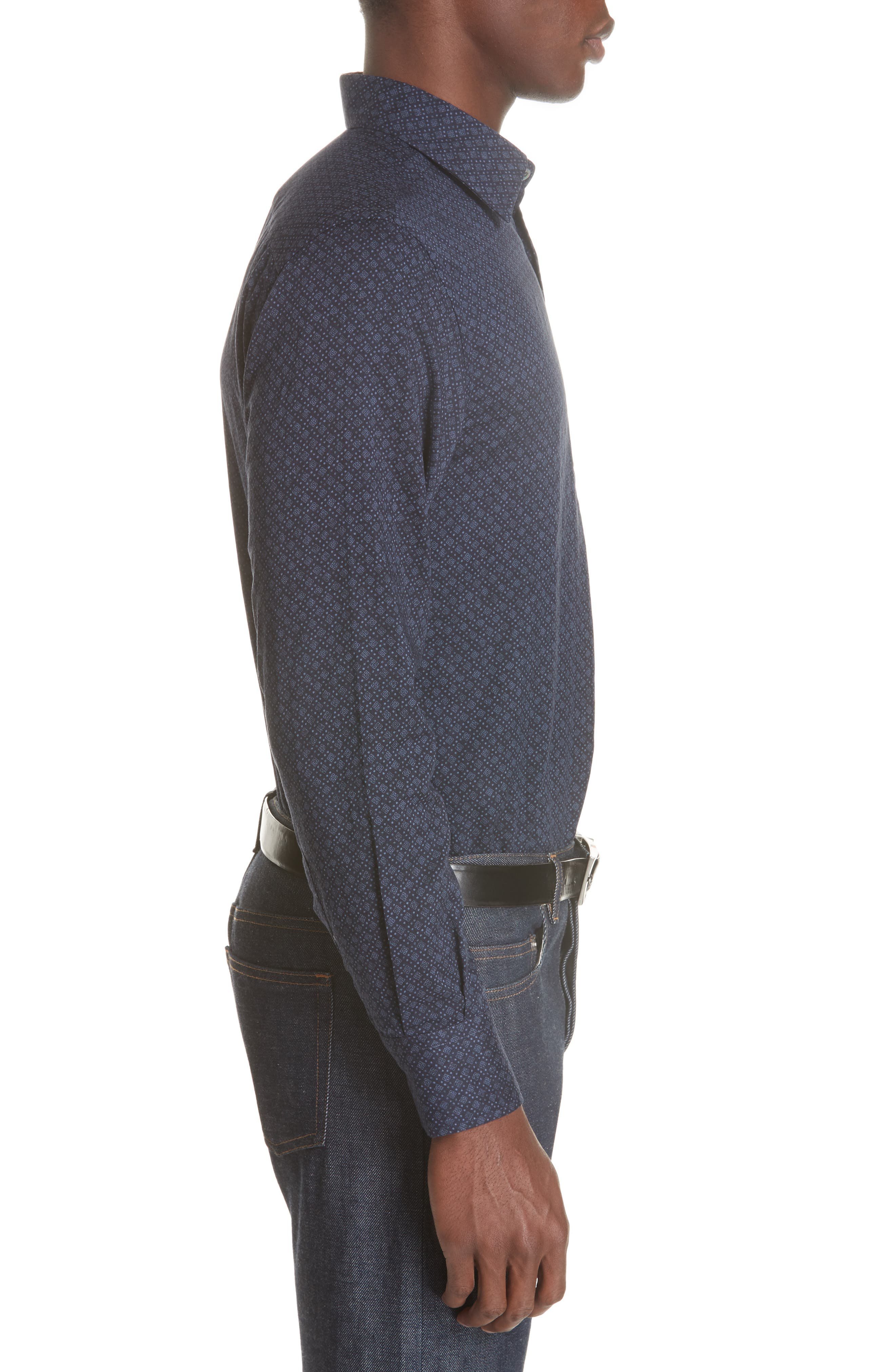 Regular Fit Easy Care Geometric Sport Shirt,                             Alternate thumbnail 4, color,                             NAVY