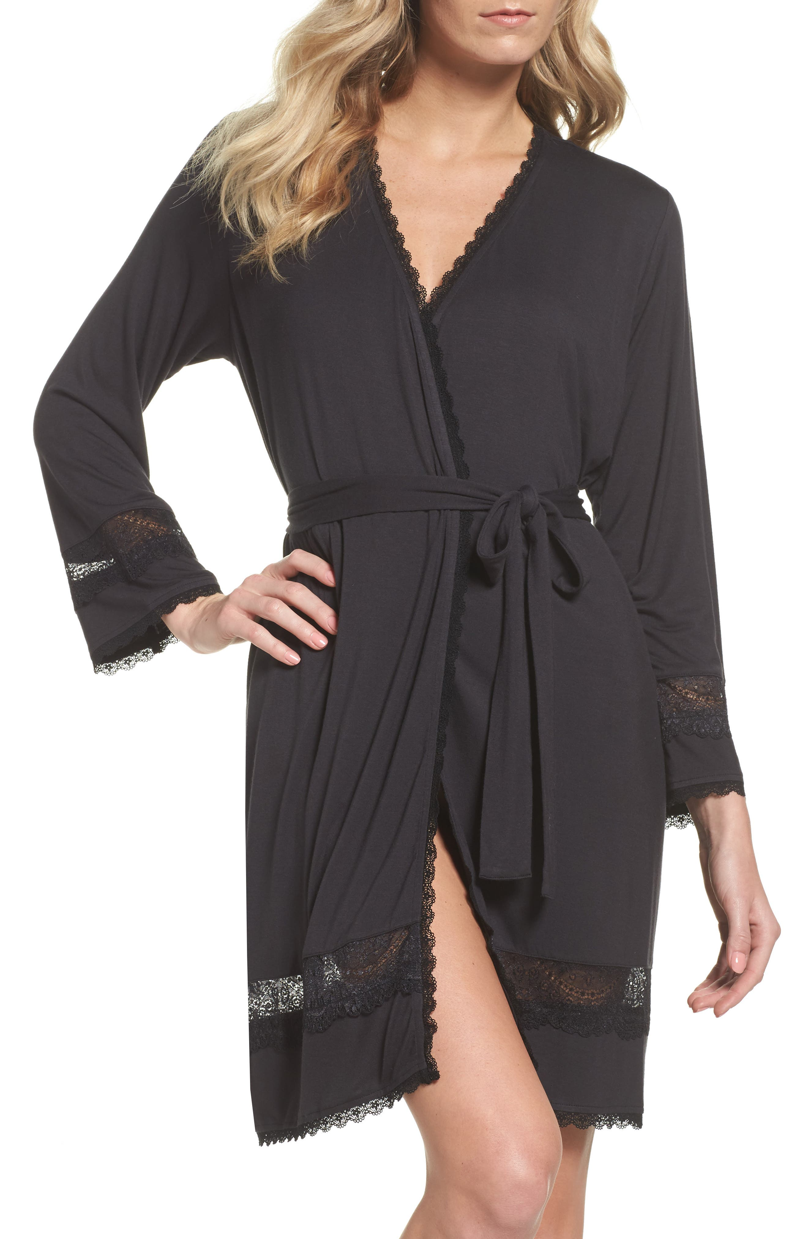 Cosima Embellished Robe,                         Main,                         color, BLACK
