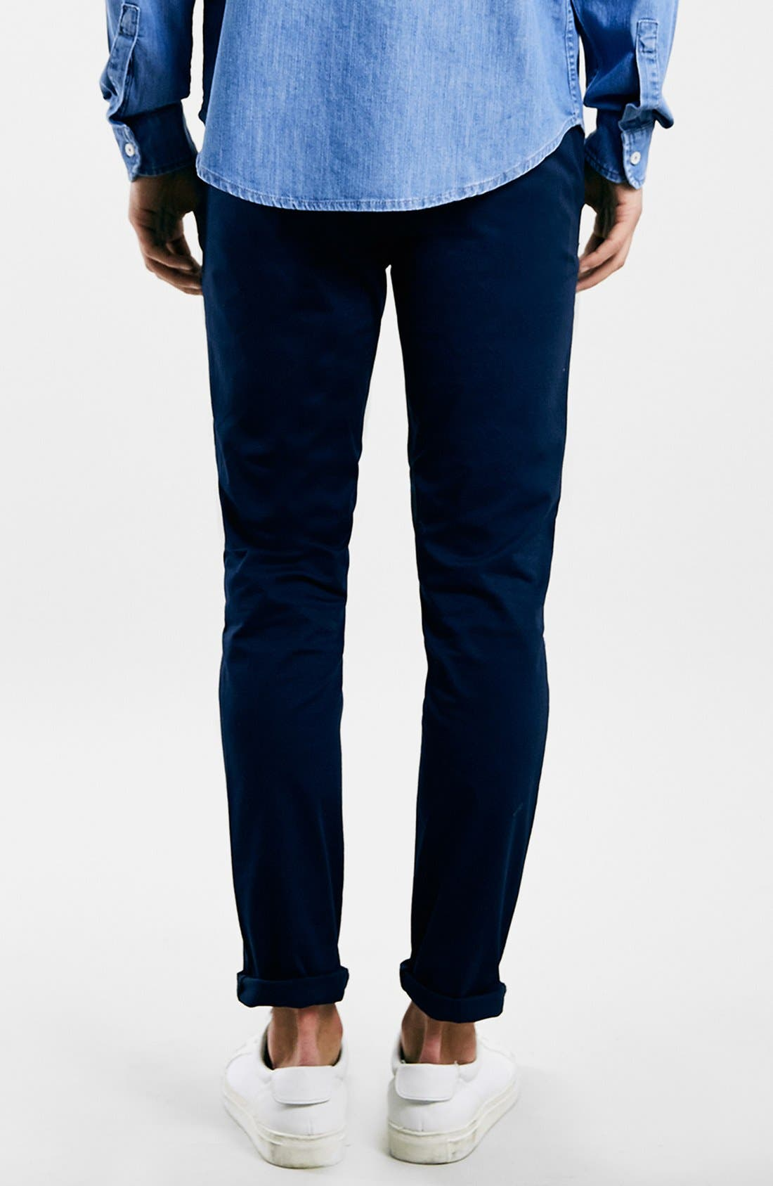 Stretch Skinny Fit Chinos,                             Alternate thumbnail 4, color,                             DARK BLUE