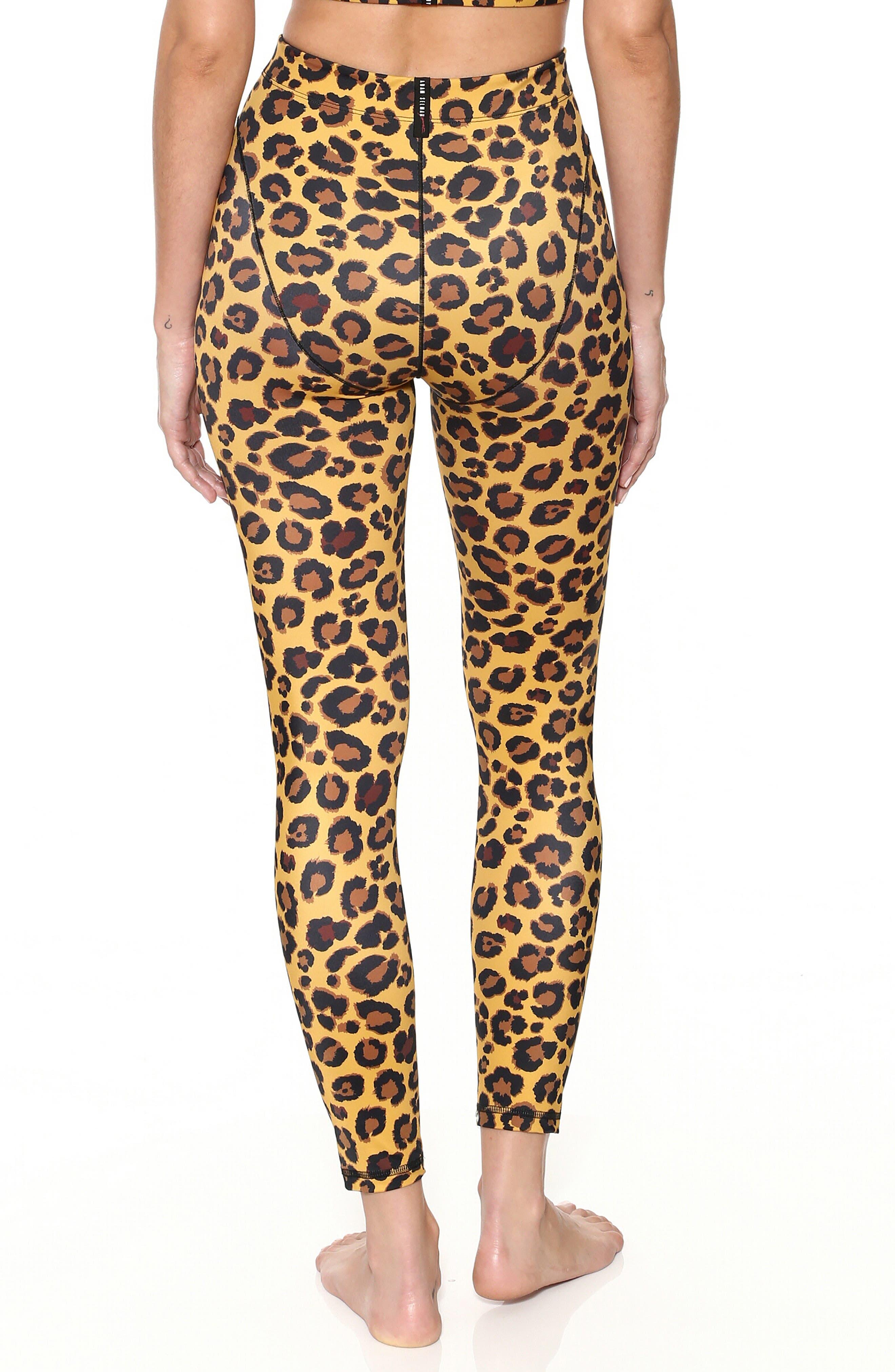 ADAM SELMAN,                             French Cut Leopard Leggings,                             Alternate thumbnail 2, color,                             HONEY LEOPARD
