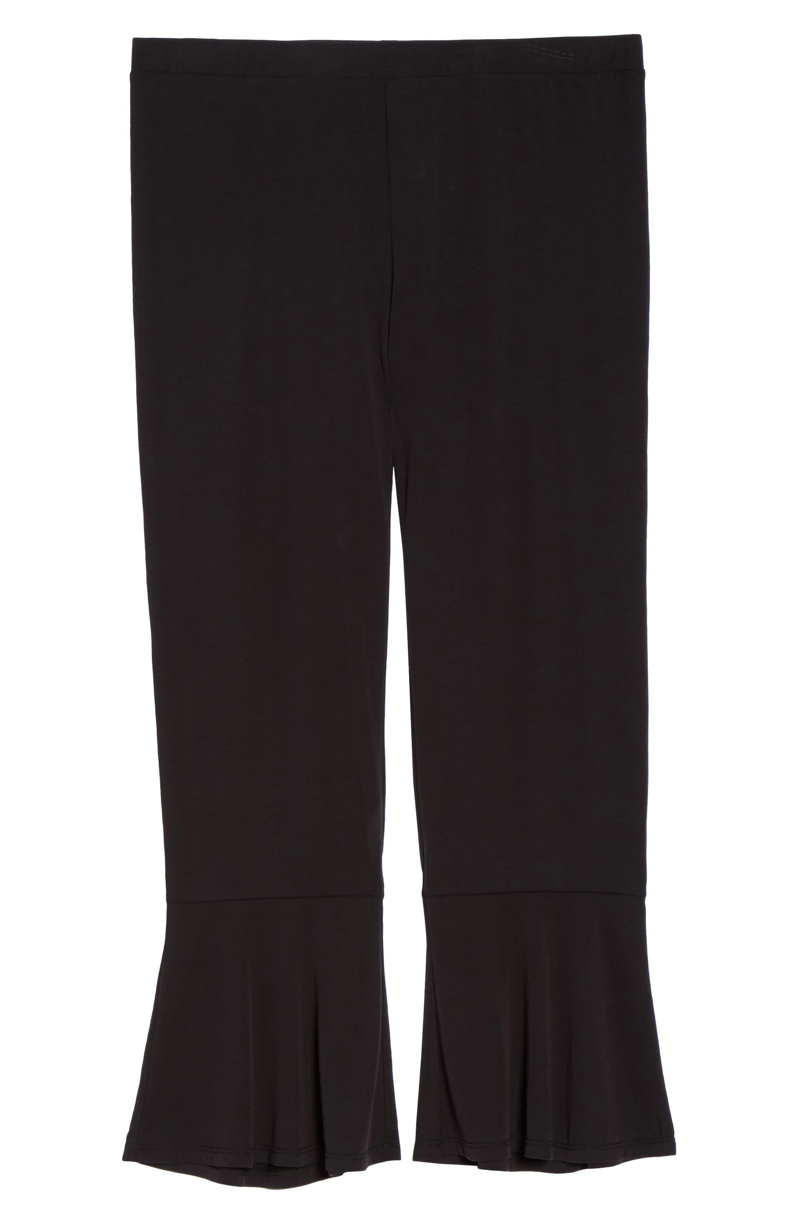 Aden Ruffle Hem Lounge Pants,                             Alternate thumbnail 6, color,                             BLACK